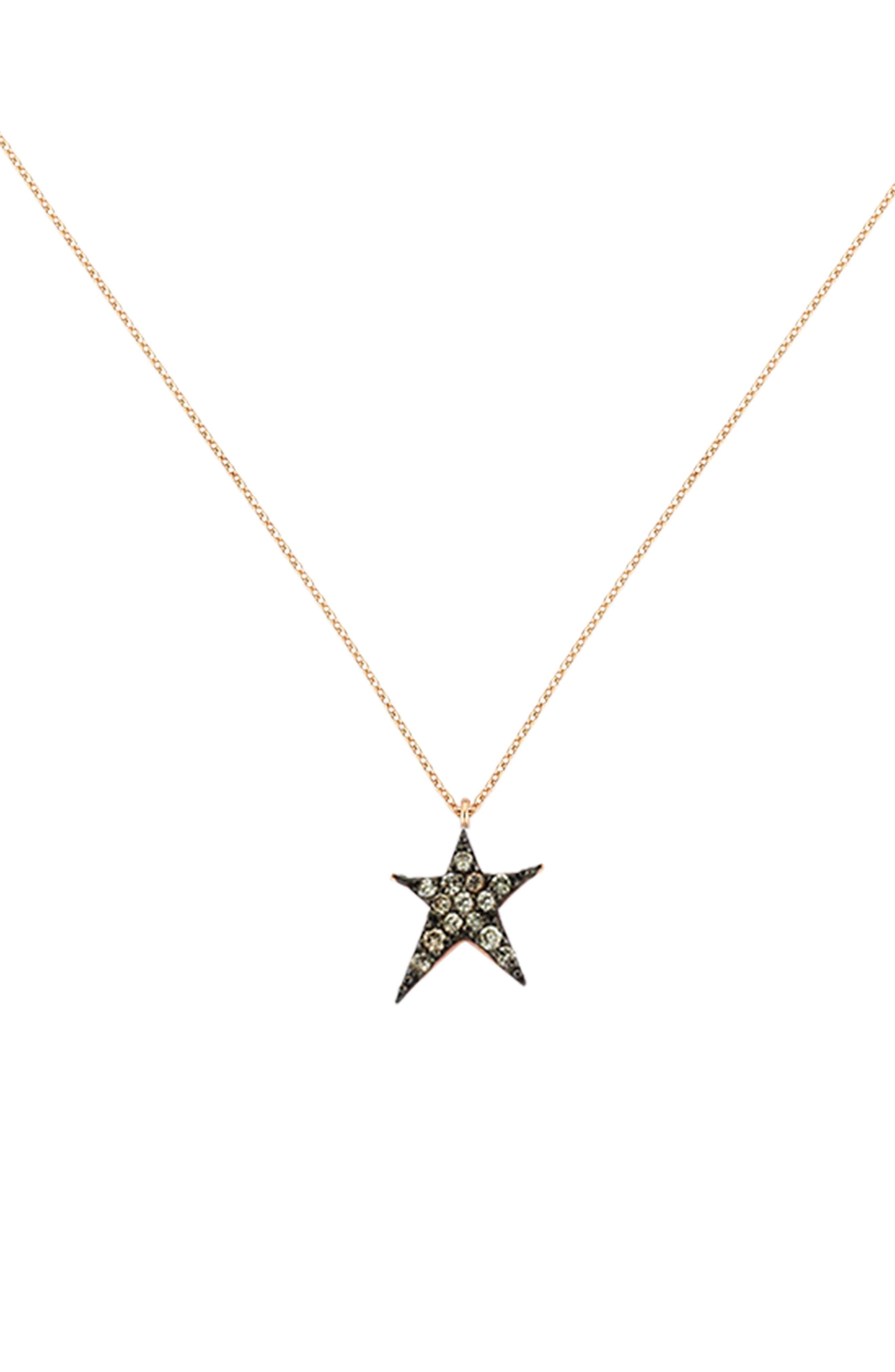 Diamond Star Pendant Necklace,                             Main thumbnail 1, color,                             Rose Gold
