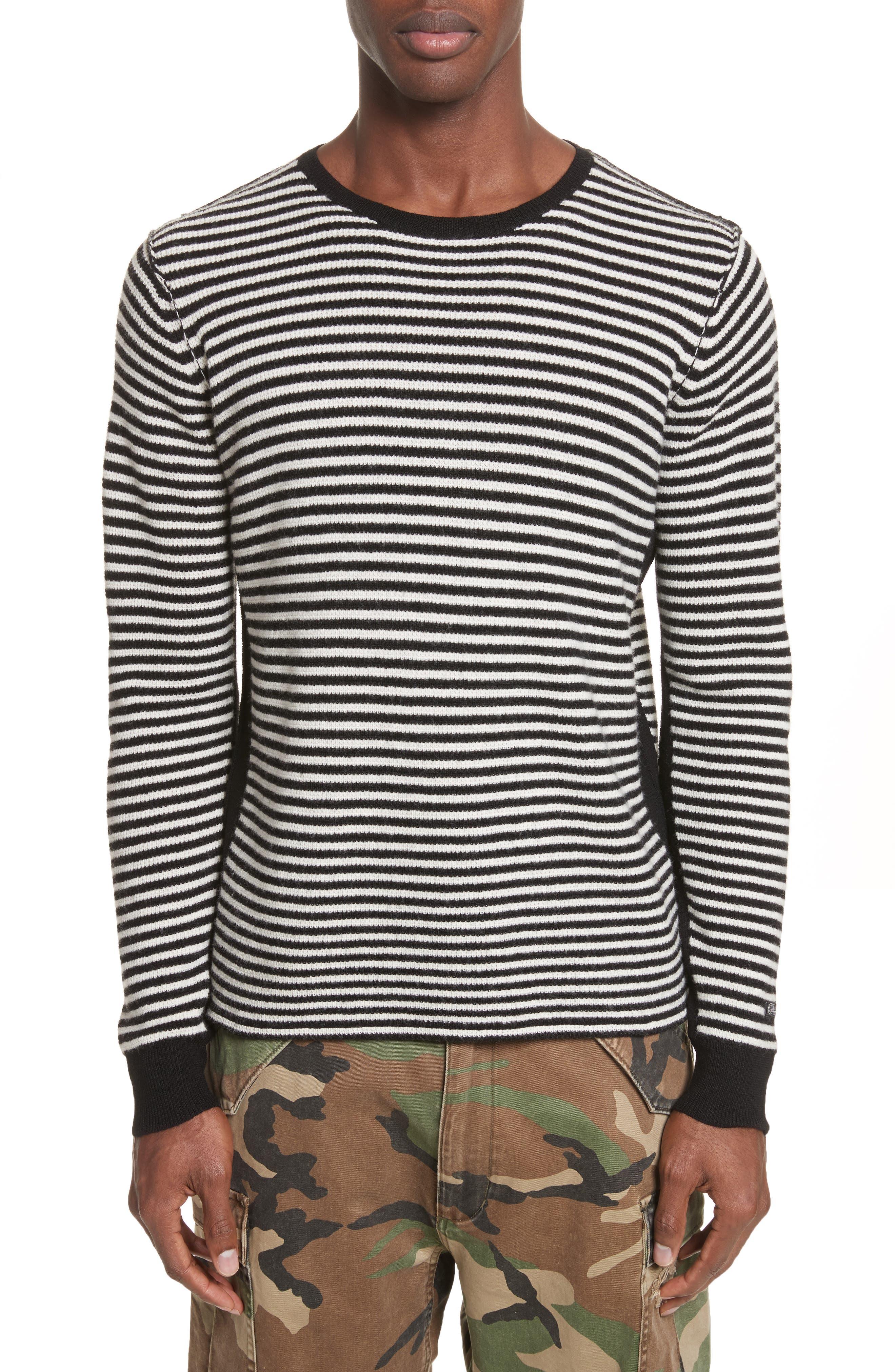 Stripe Waffle Knit Wool Sweater,                         Main,                         color, Black/ Cream