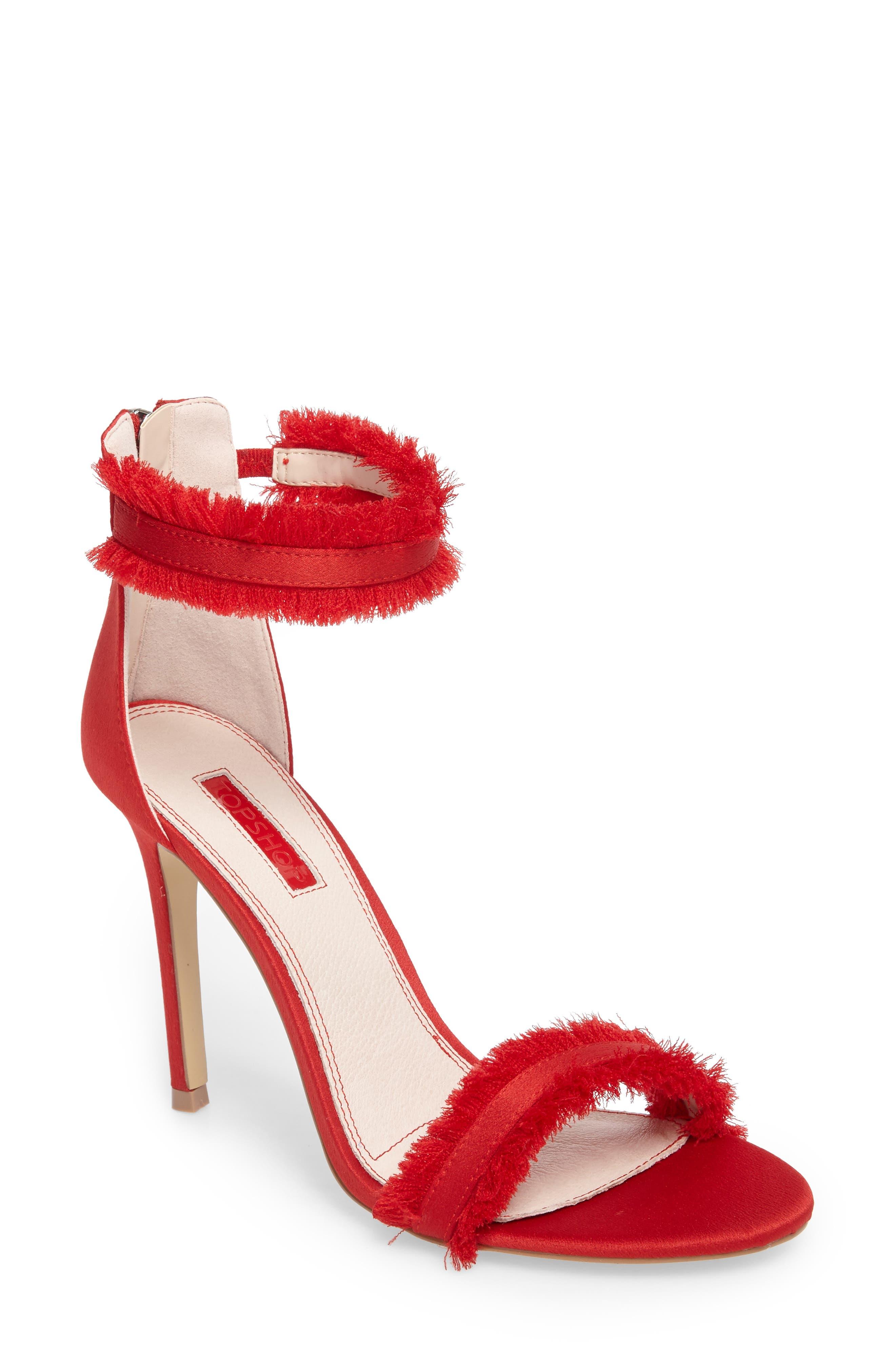 Riley Fringe Sandal,                         Main,                         color, Red