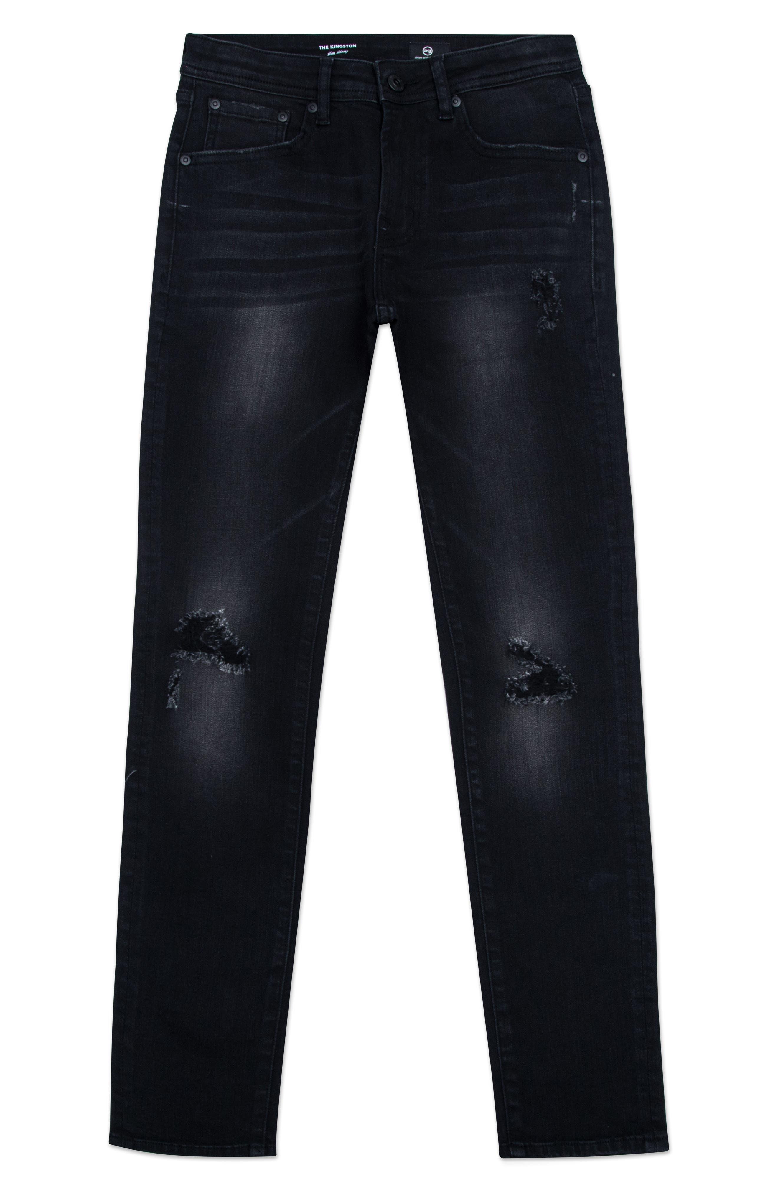 The Kingston Ripped Straight Leg Jeans,                             Main thumbnail 1, color,                             Black Rock Wash