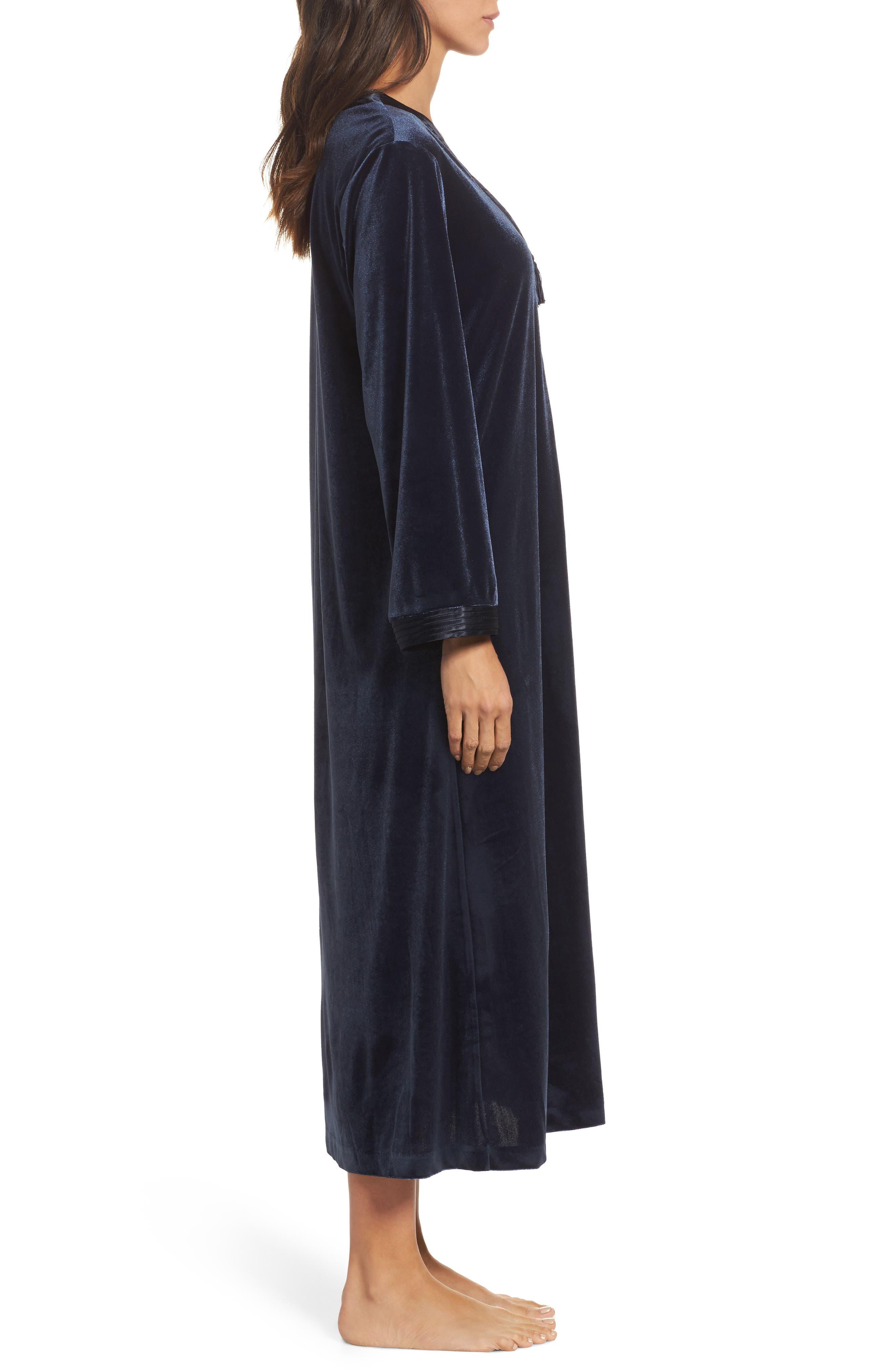 Sleepwear Velvet Caftan,                             Alternate thumbnail 3, color,                             Blue