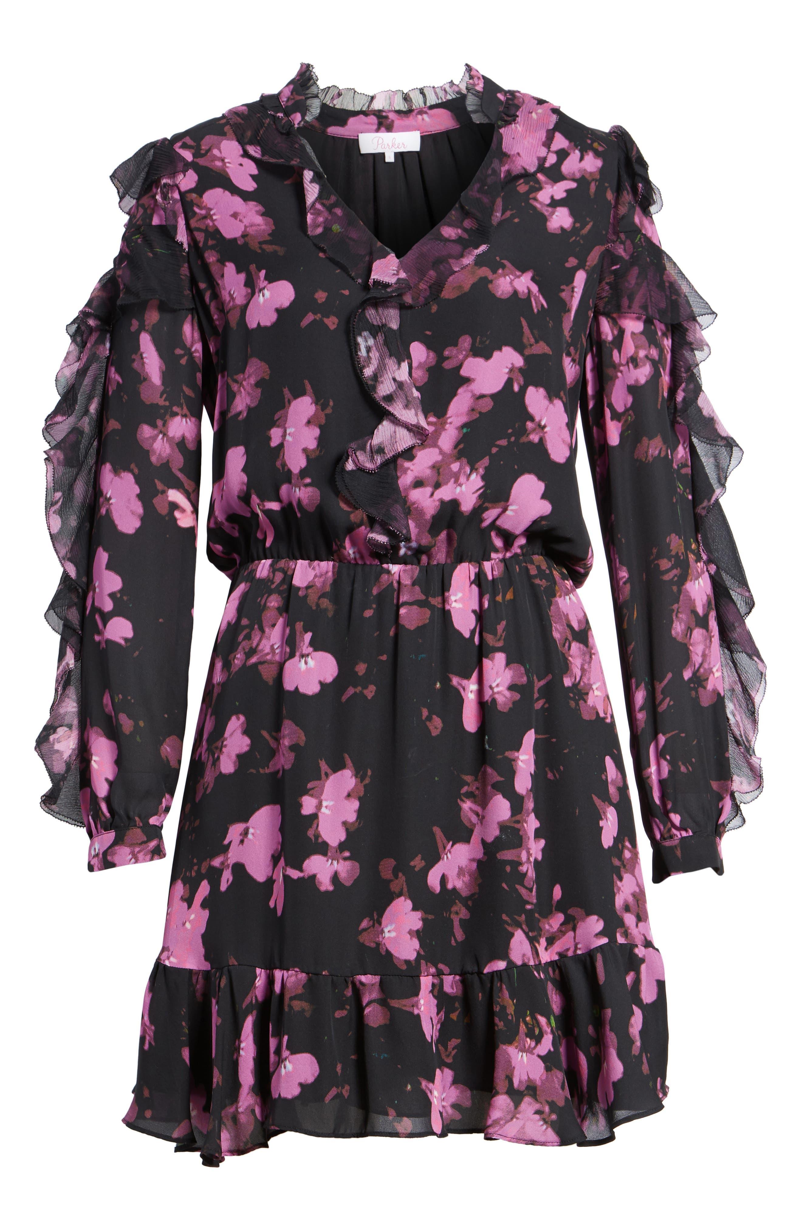 Zinnia Ruffle Silk Dress,                             Alternate thumbnail 6, color,                             Petalbloom