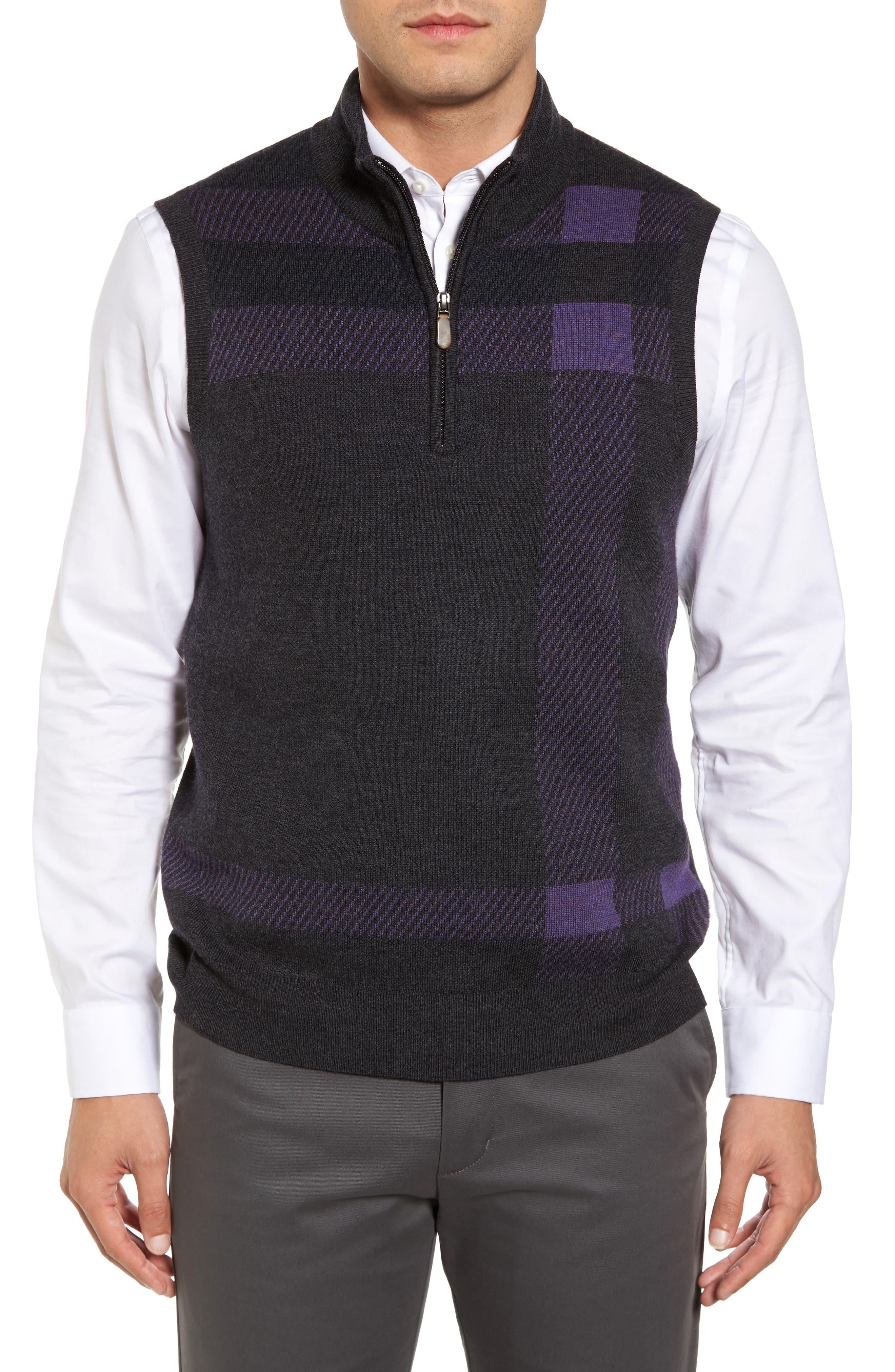 Oversize Plaid Wool Vest,                             Main thumbnail 1, color,                             Heather Grey