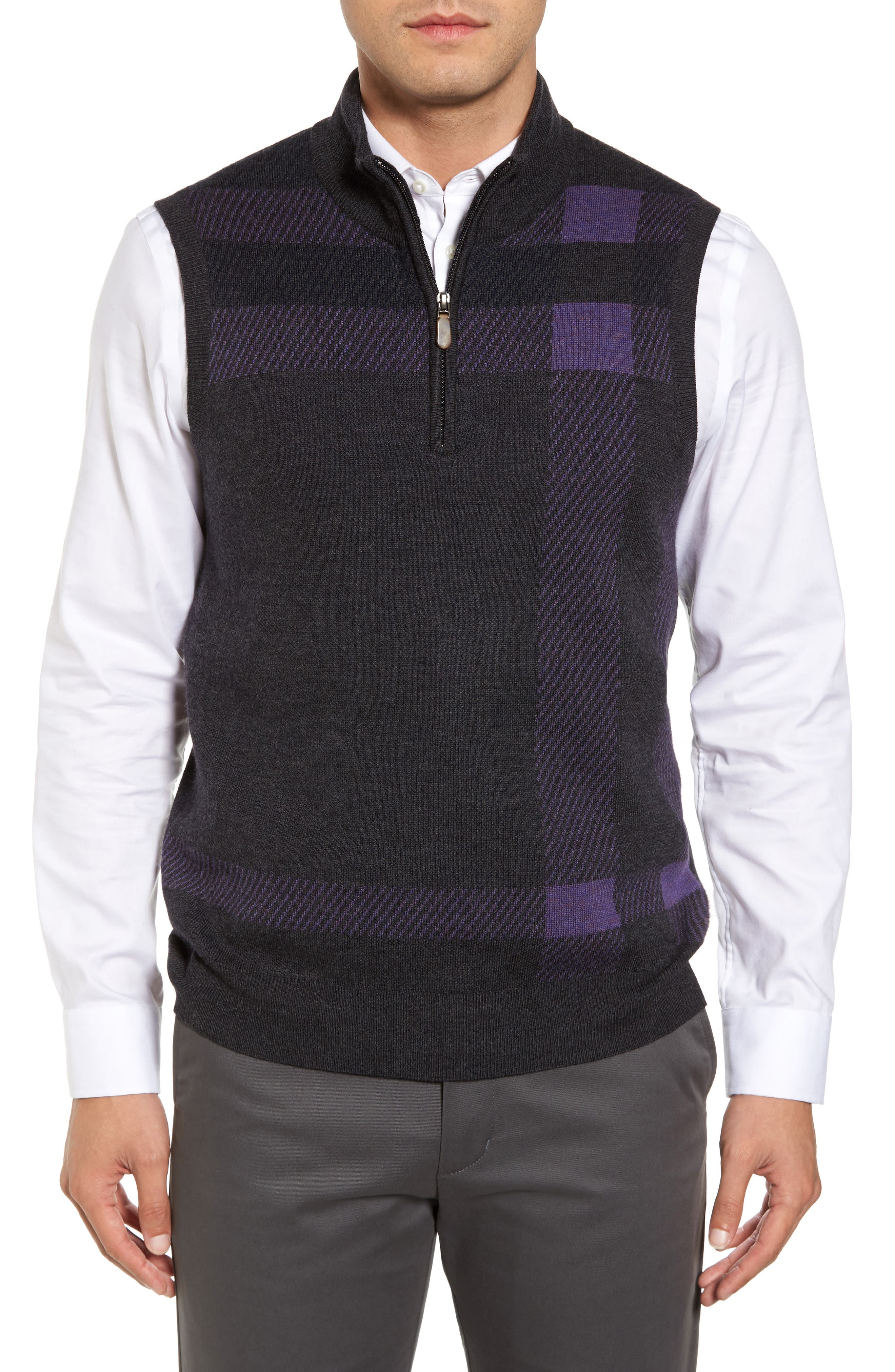 Oversize Plaid Wool Vest,                         Main,                         color, Heather Grey