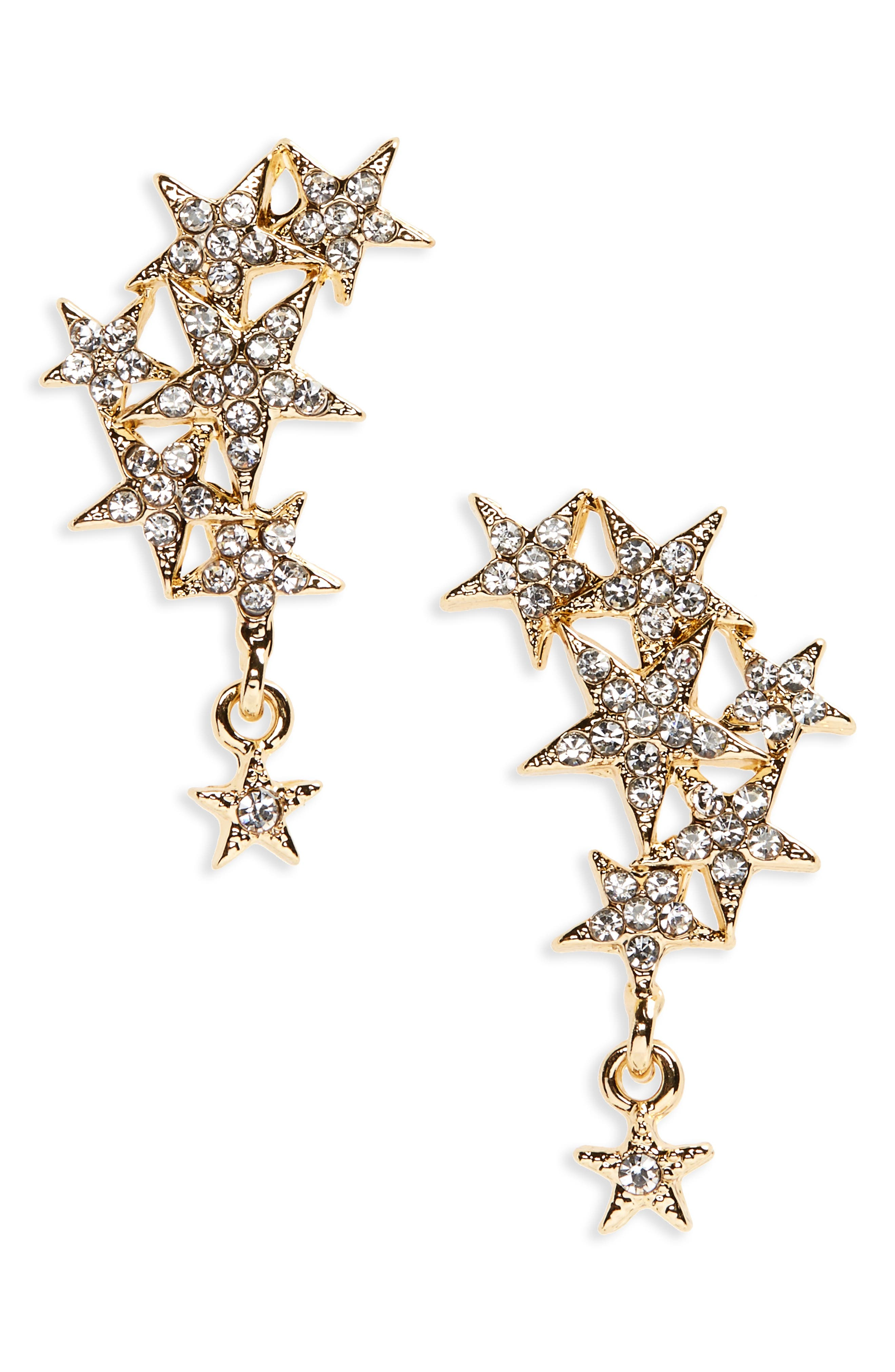 Crystal Star Cluster Statement Earrings,                             Main thumbnail 1, color,                             Gold