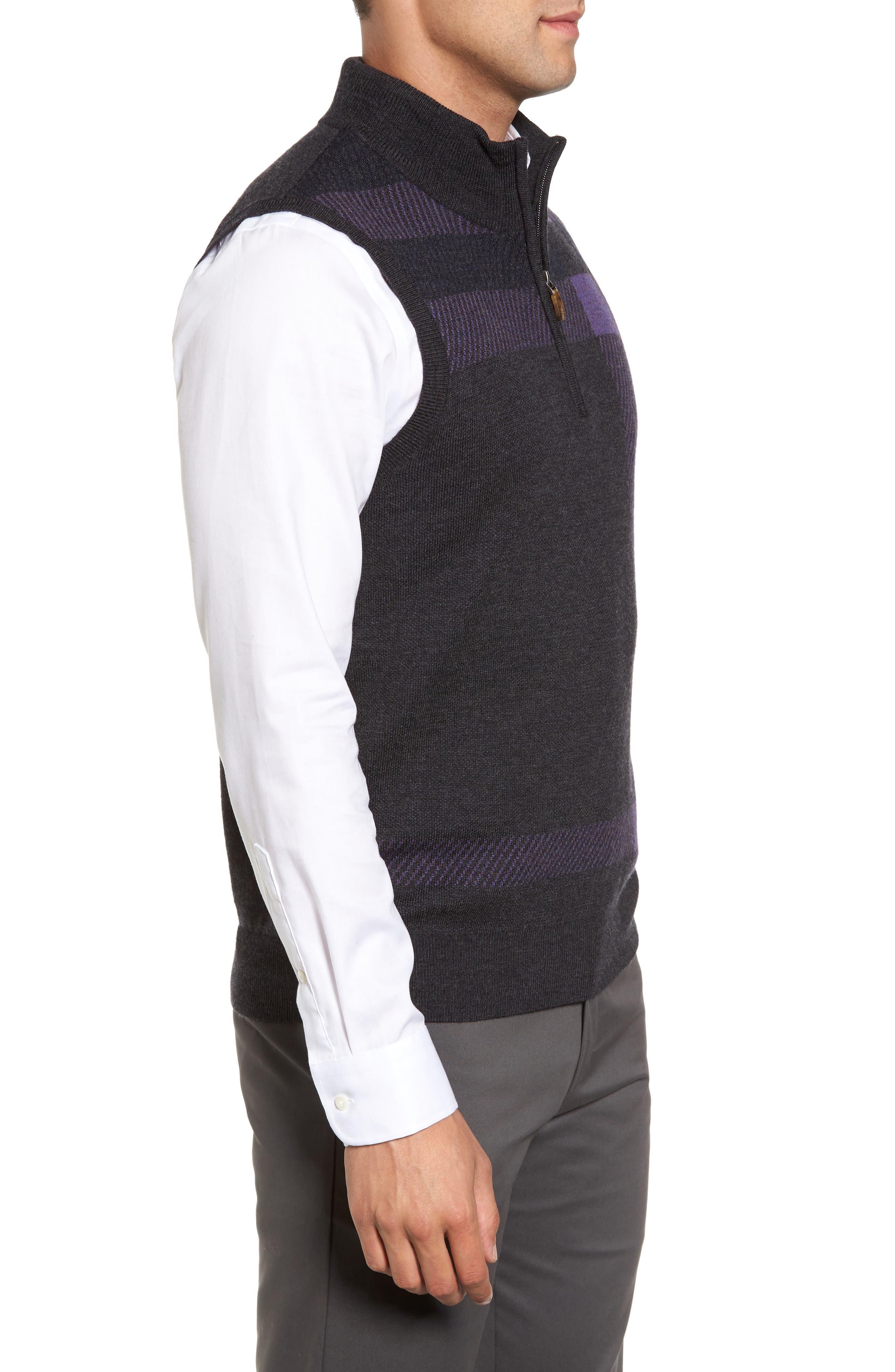 Oversize Plaid Wool Vest,                             Alternate thumbnail 3, color,                             Heather Grey