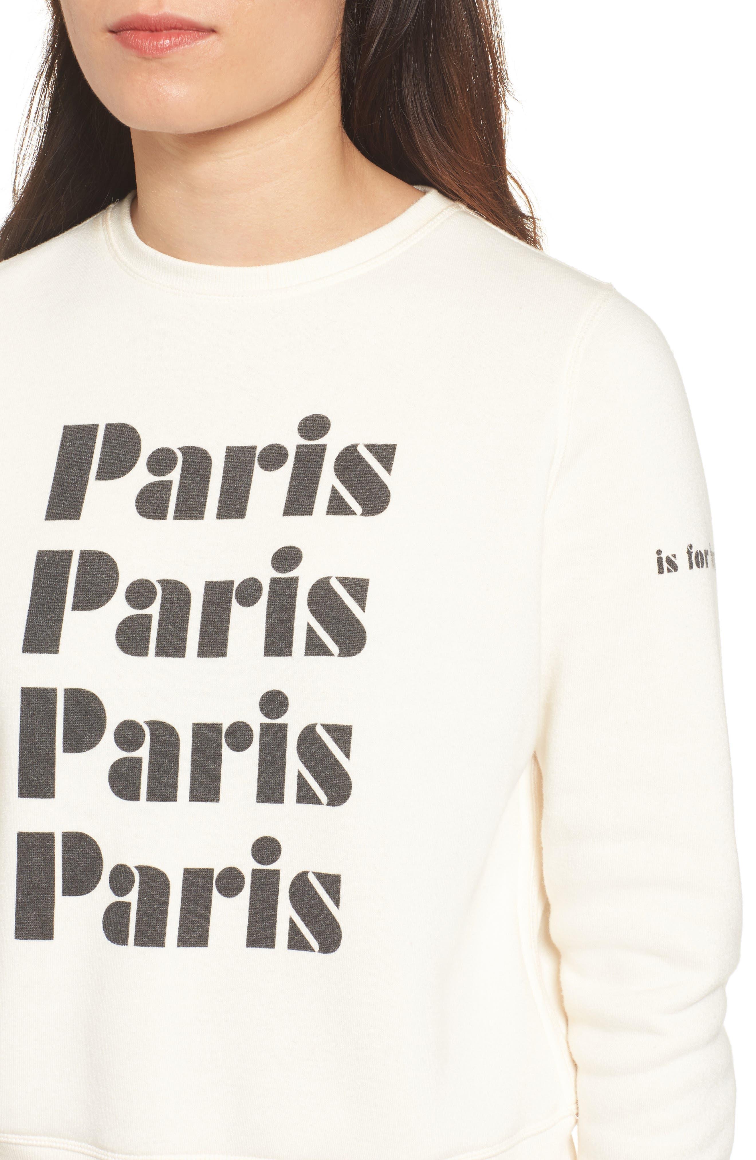 Paris Sweatshirt,                             Alternate thumbnail 4, color,                             Off White/ Black