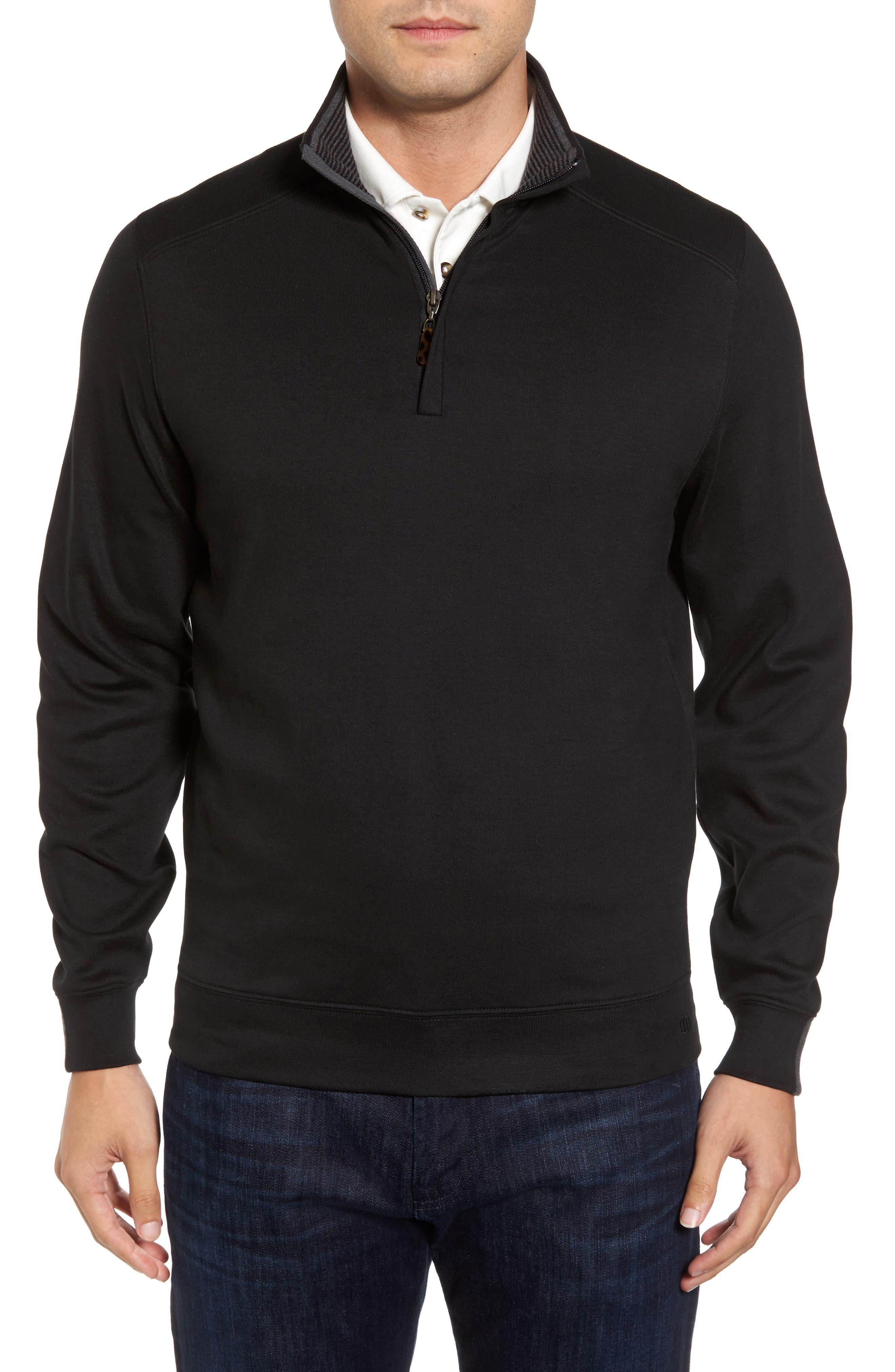 Interlock Knit Quarter Zip Pullover,                             Main thumbnail 1, color,                             Black