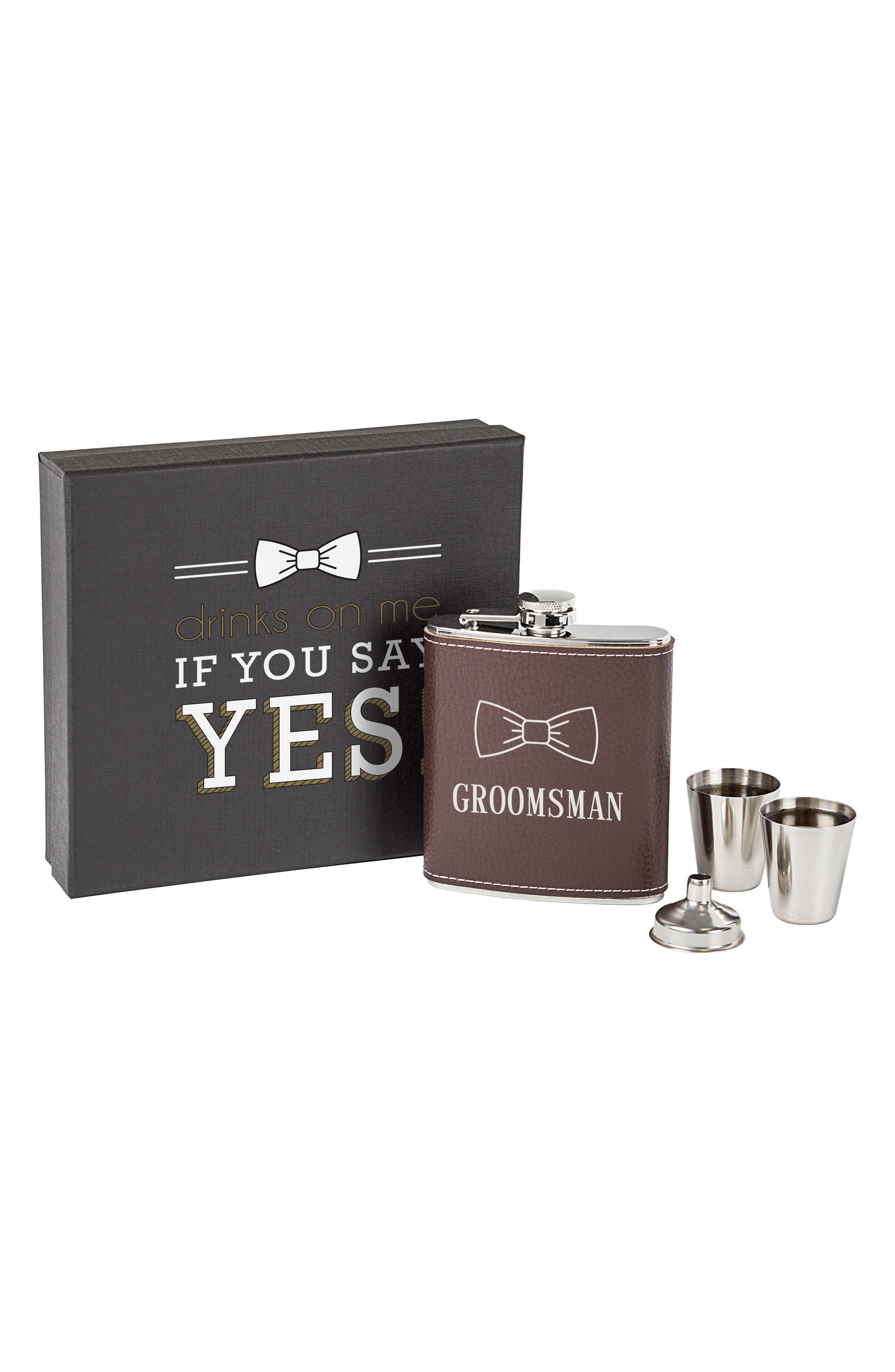 Groomsman Flask Set,                             Main thumbnail 1, color,                             Brown