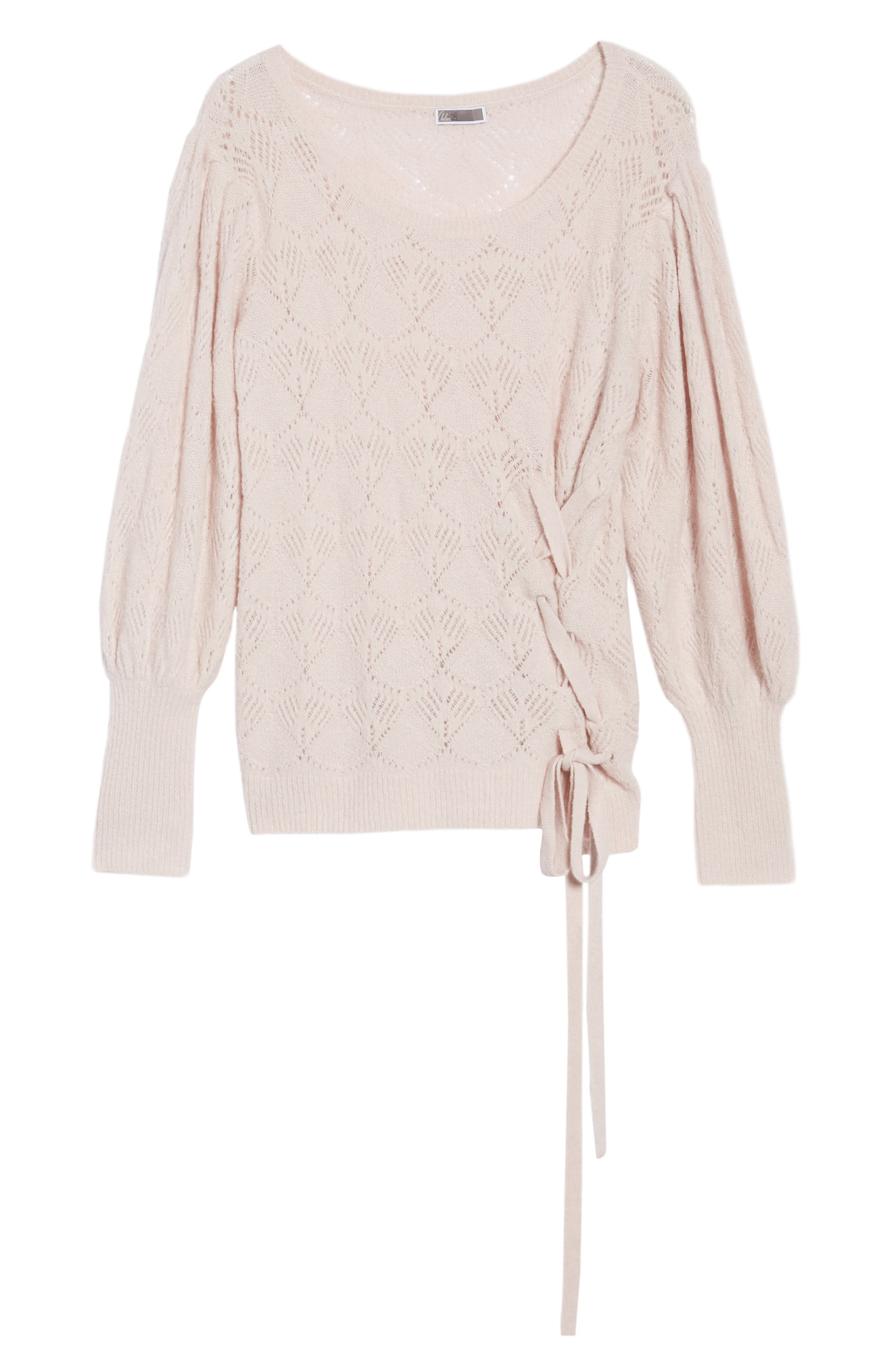 Tied Pointelle Knit Sweater,                             Alternate thumbnail 6, color,                             Pink Hush