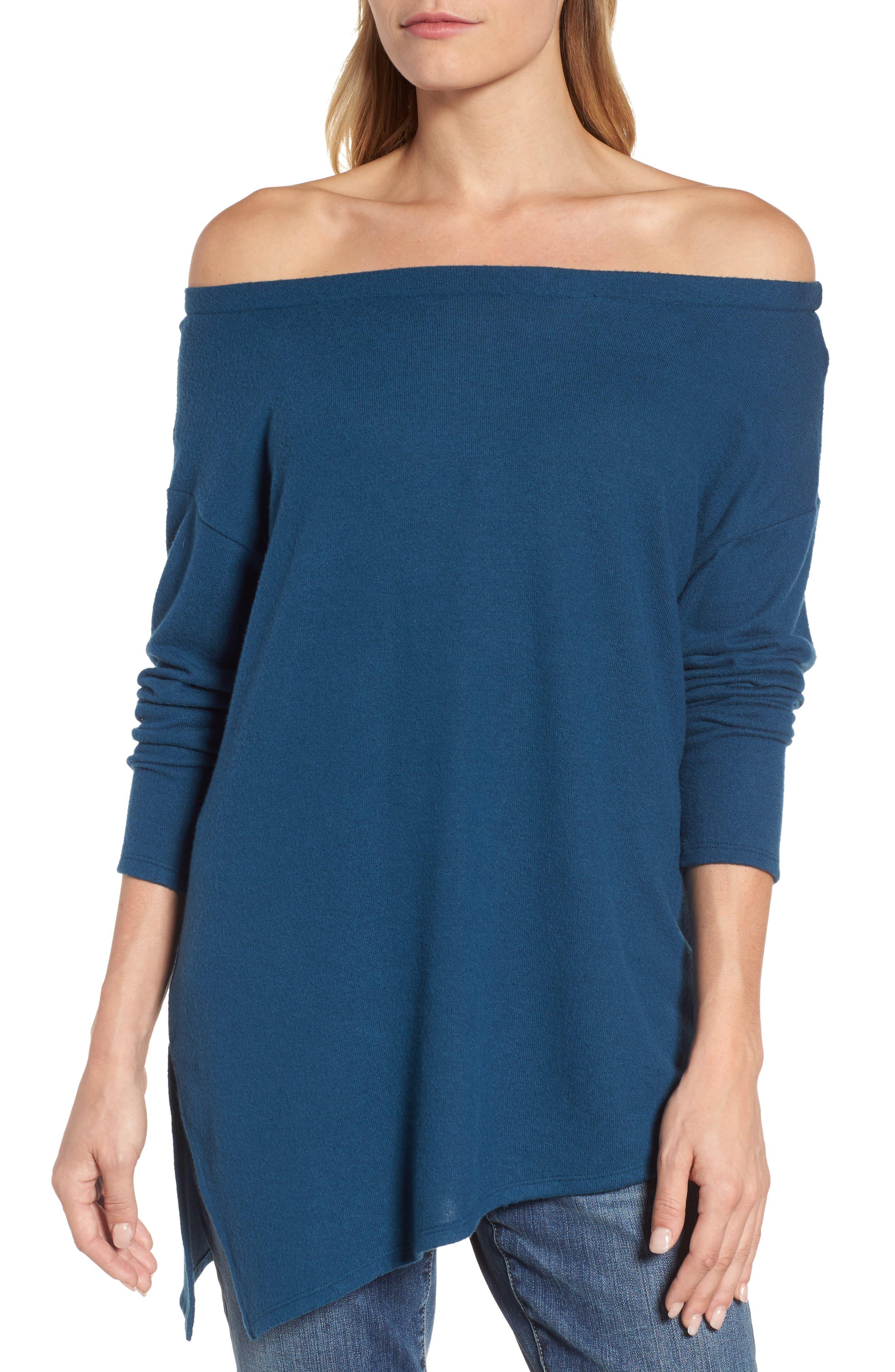 Asymmetrical Cozy Fleece Convertible Top,                             Alternate thumbnail 5, color,                             Blue Ceramic