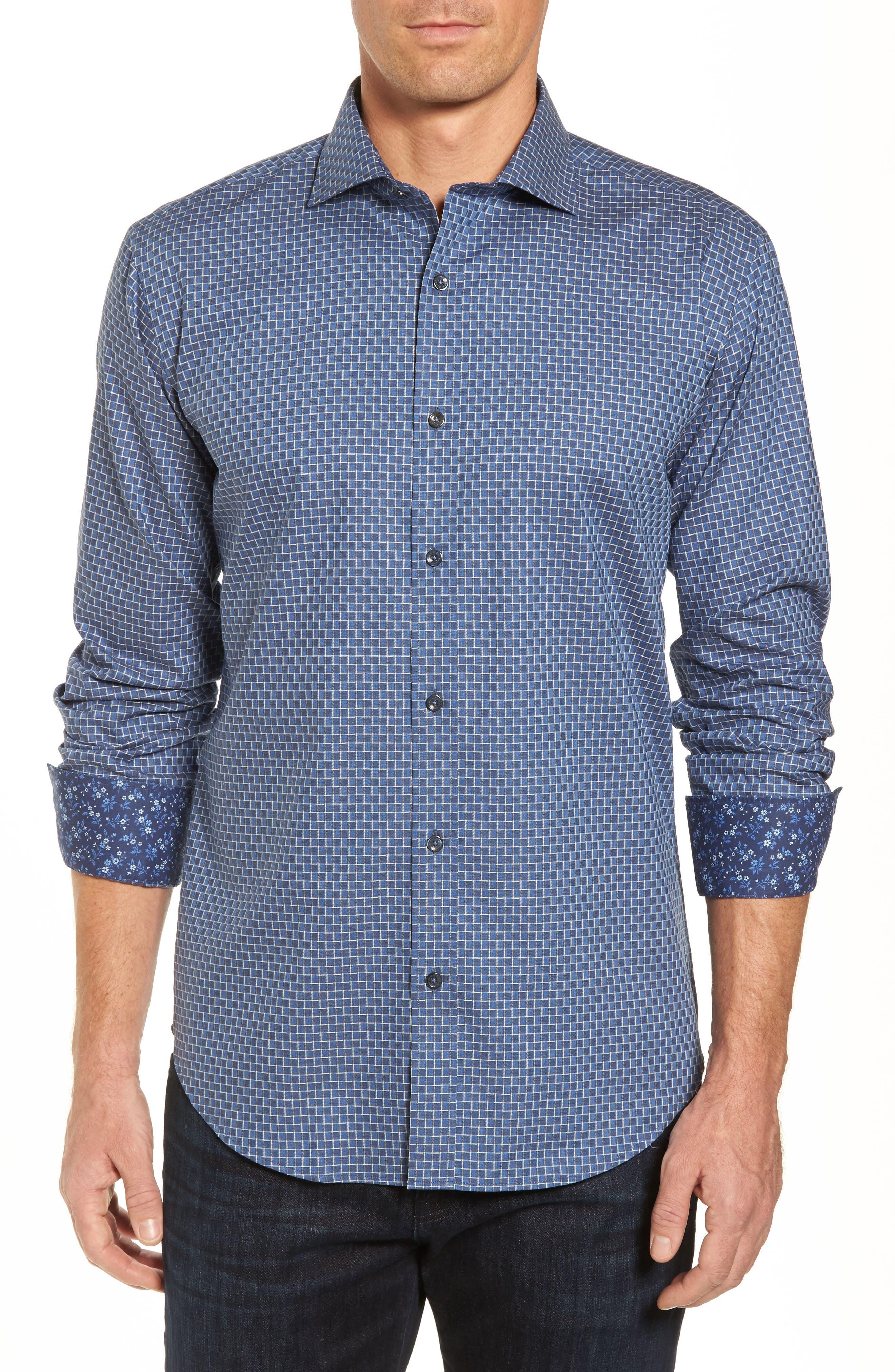 Shaped Fit Jacquard Sport Shirt,                         Main,                         color, Steel
