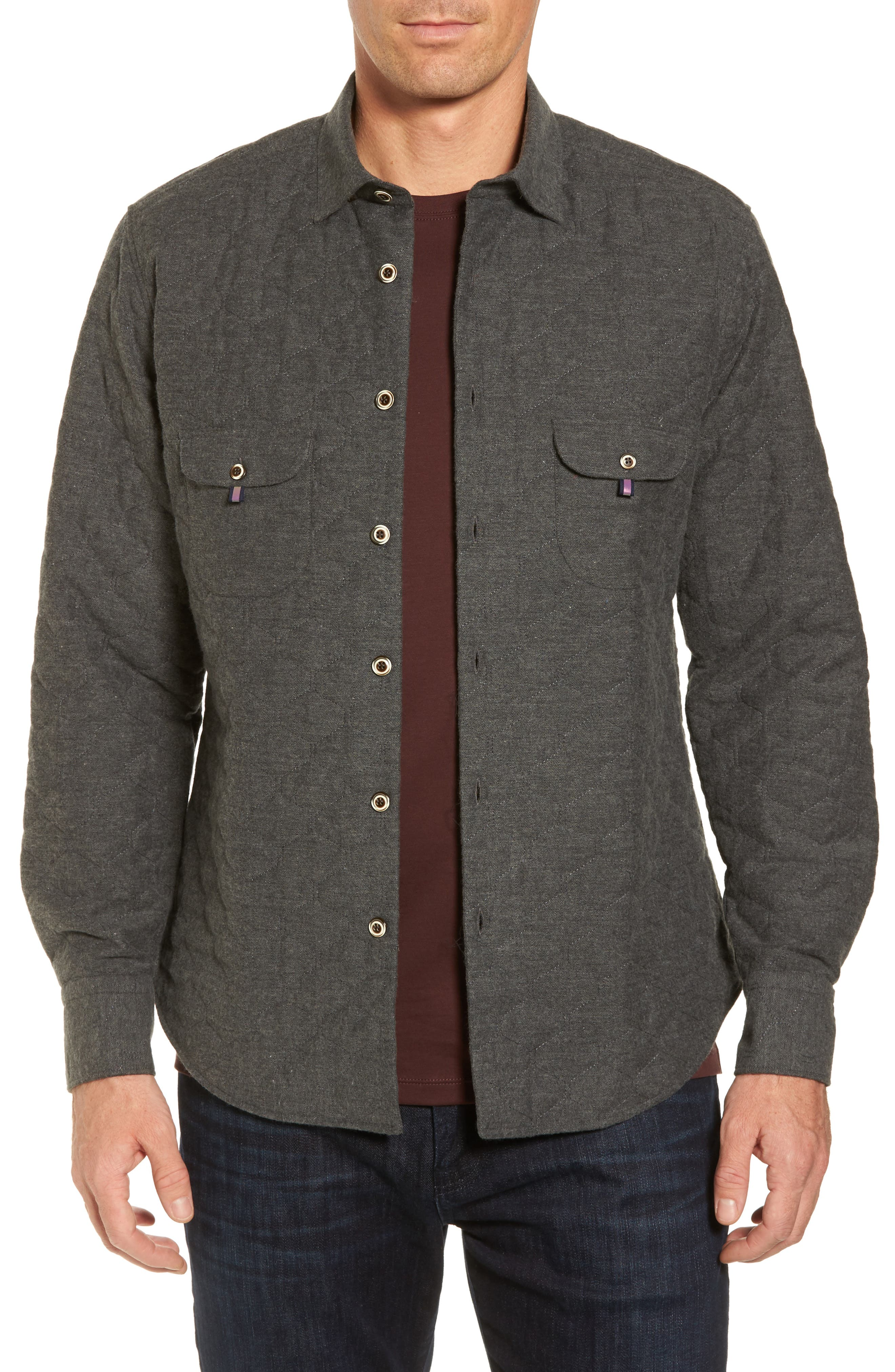 Stone Rose Slim Fit Quilted Shirt Jacket