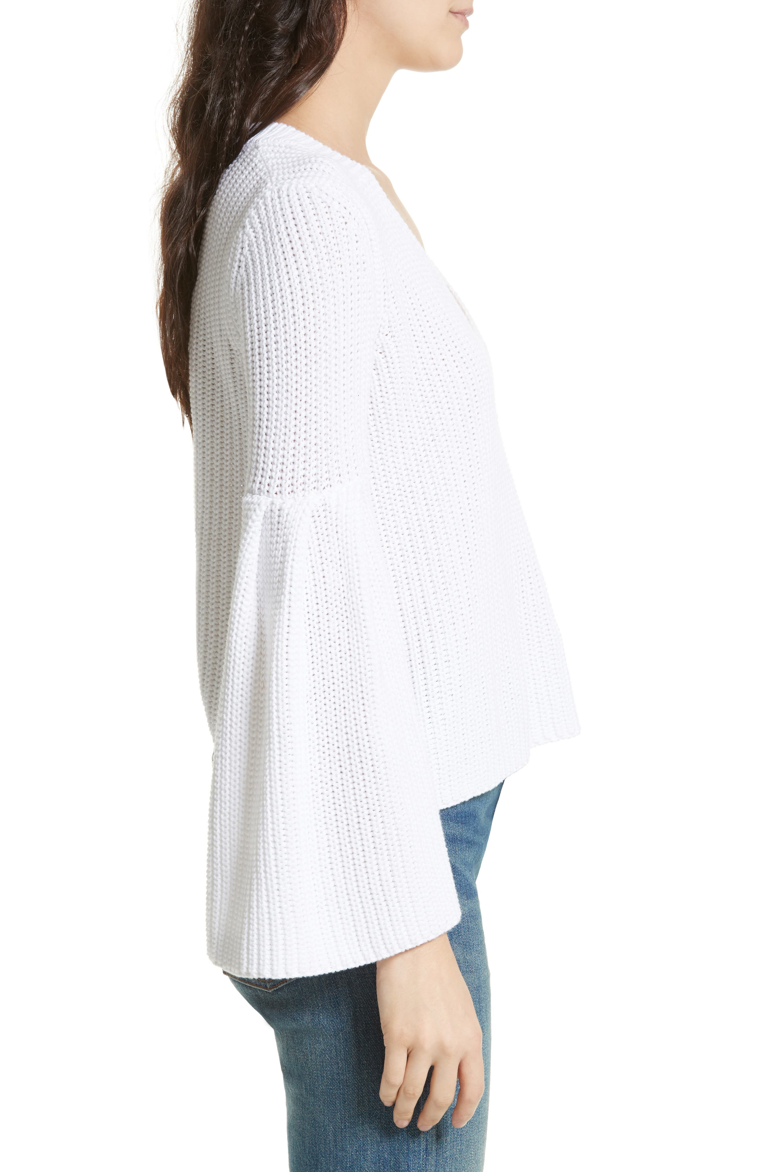 Damsel Bell Sleeve Pullover,                             Alternate thumbnail 3, color,                             White