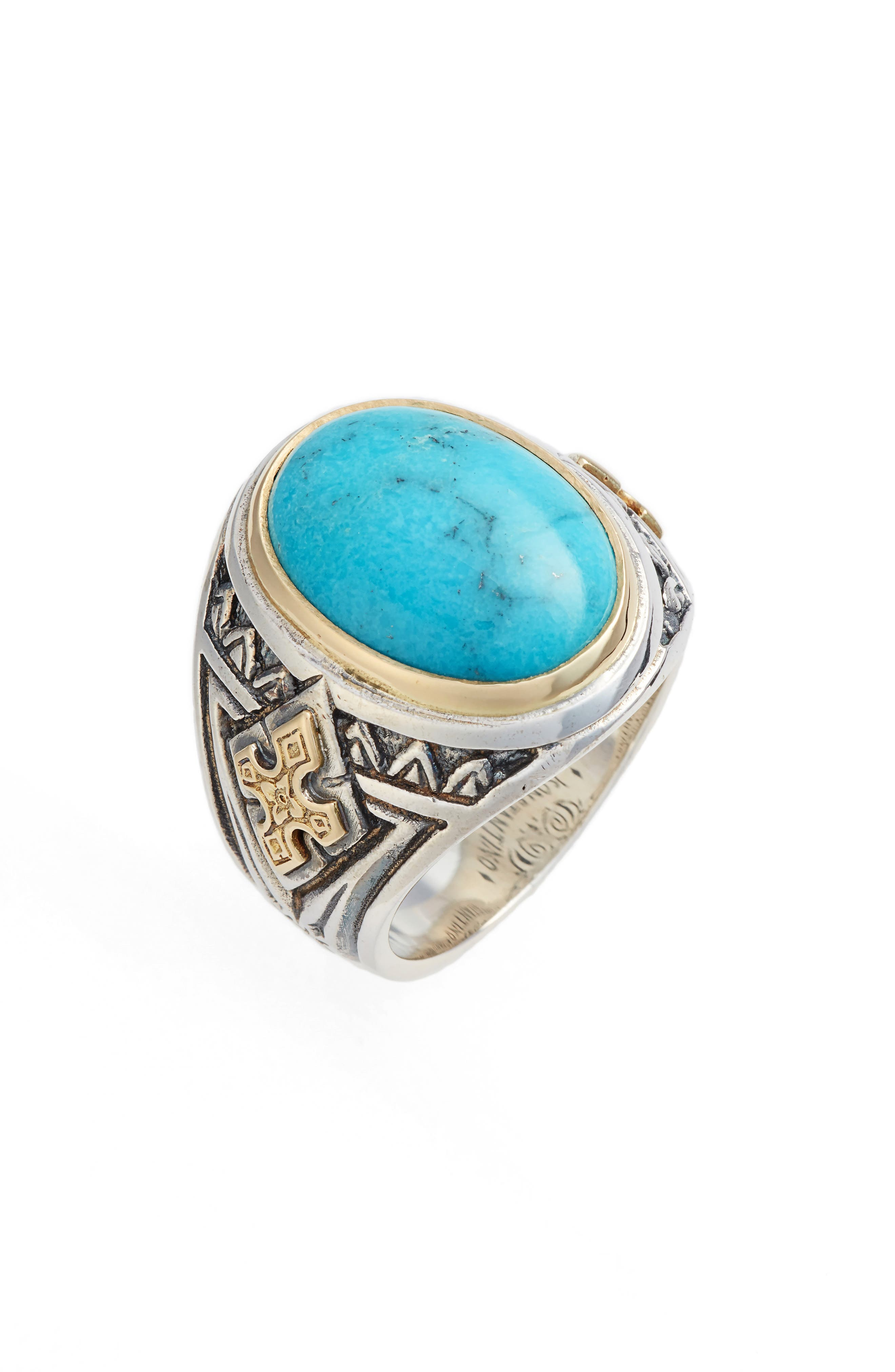 Heonos Turquoise Ring,                             Main thumbnail 1, color,                             Silver/ Gold/ Turquoise