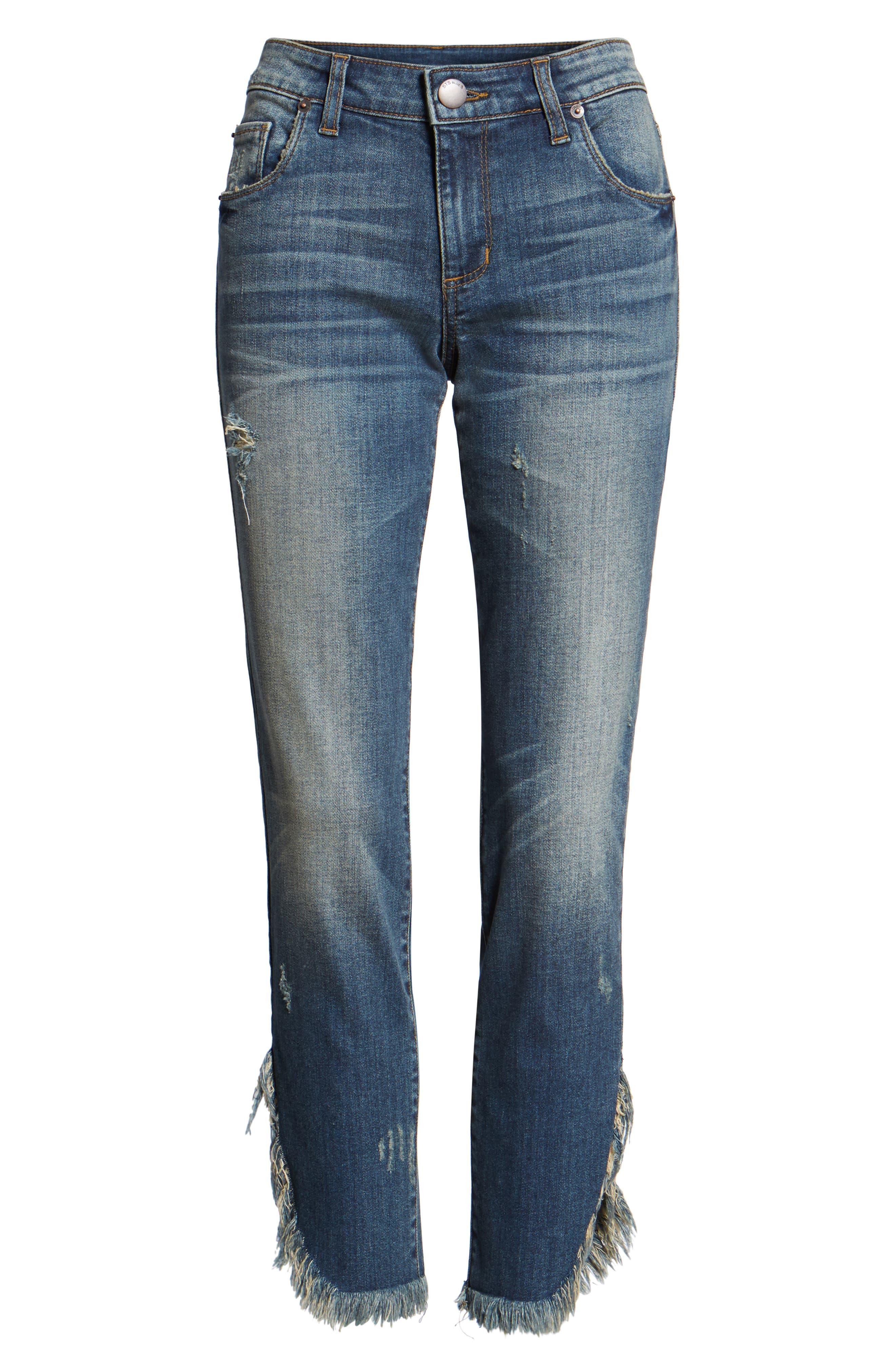 Emma Fray Tulip Hem Skinny Jeans,                             Alternate thumbnail 6, color,                             Nelson