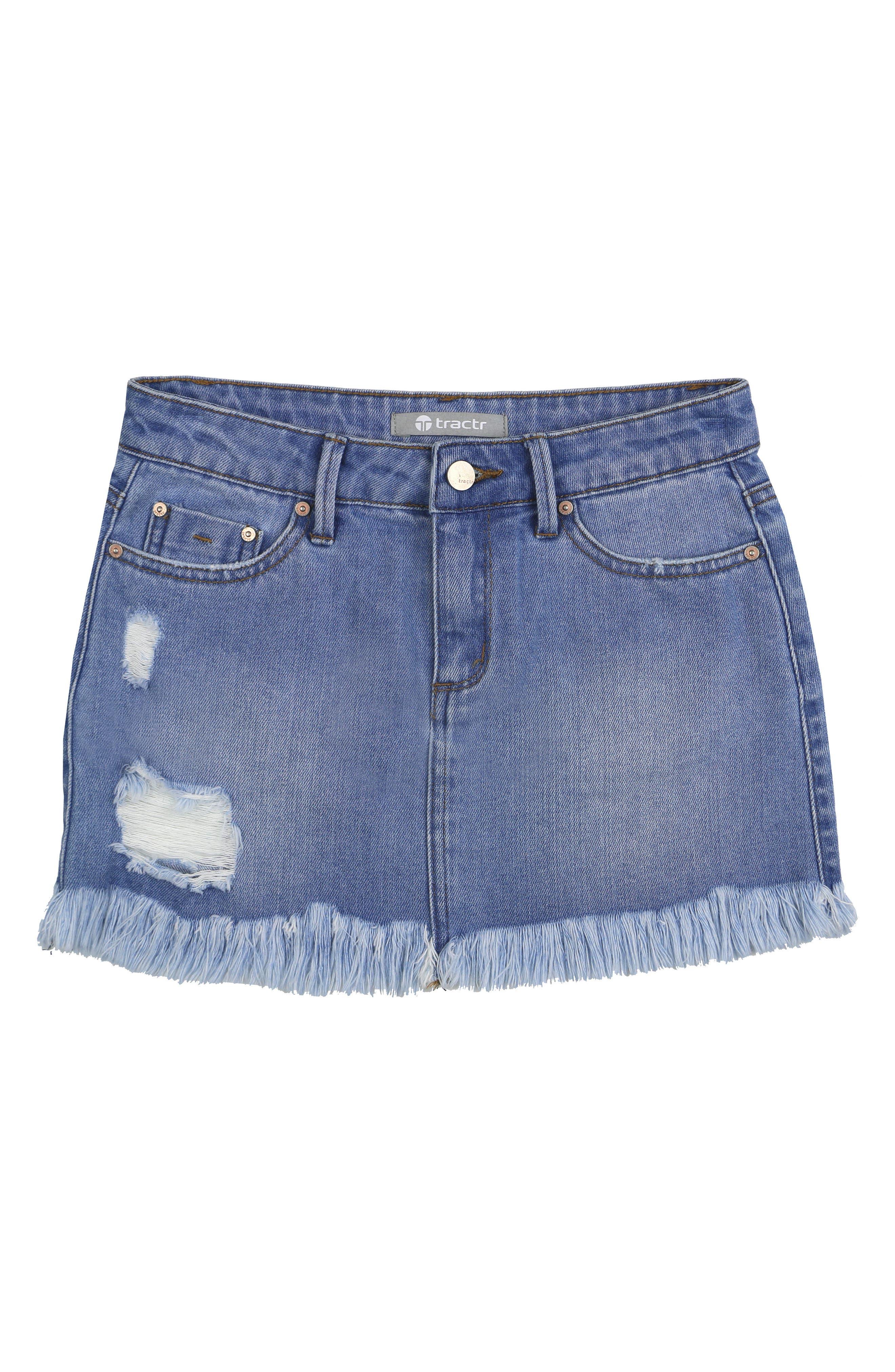 Main Image - Tractr Distressed Denim Skirt (Big Girls)