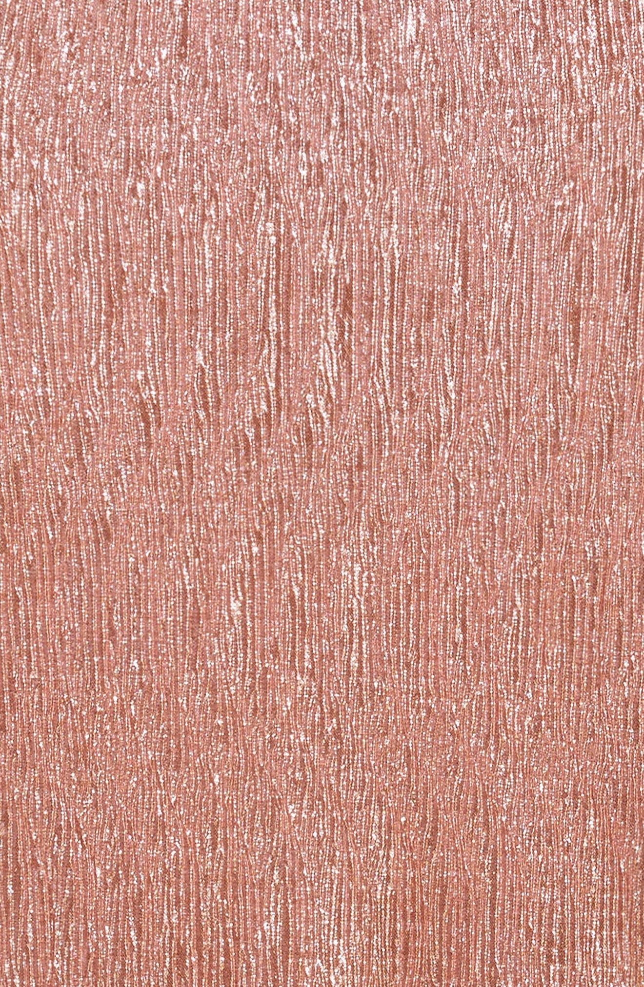 Love Fire Crinkled Metallic T-Shirt Dress,                             Alternate thumbnail 4, color,                             Pink