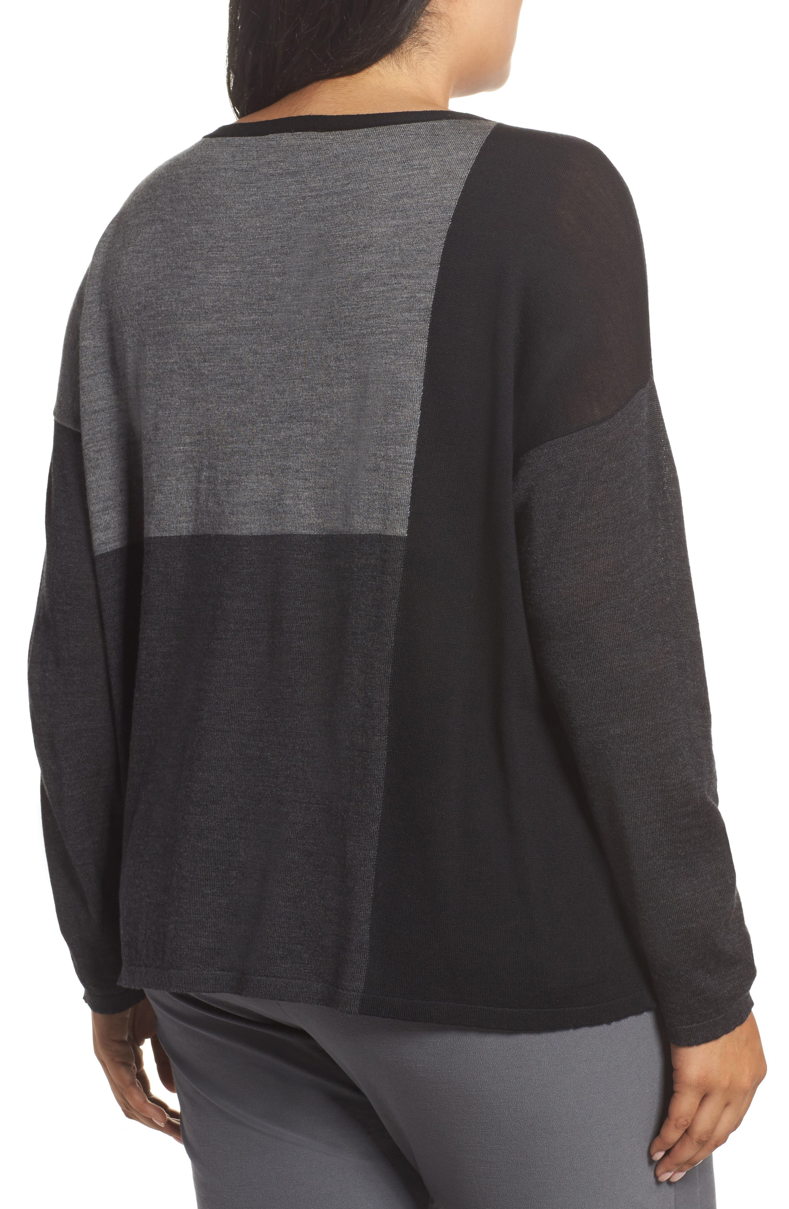 Colorblock Boxy Merino Wool Sweater,                             Alternate thumbnail 2, color,                             Charcoal