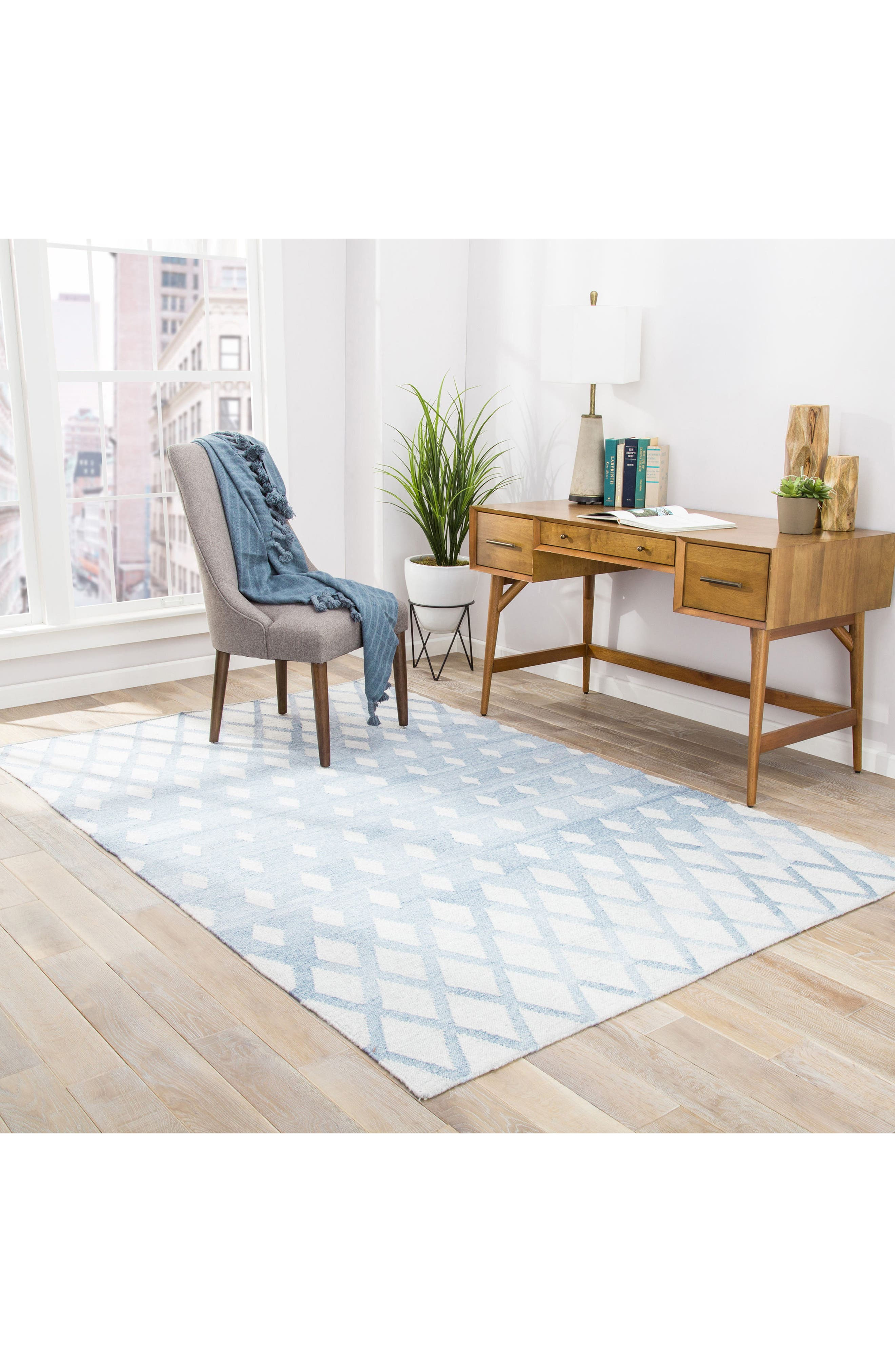 Pyramid Blocks Rug,                             Alternate thumbnail 4, color,                             Faded Denim/ Oatmeal