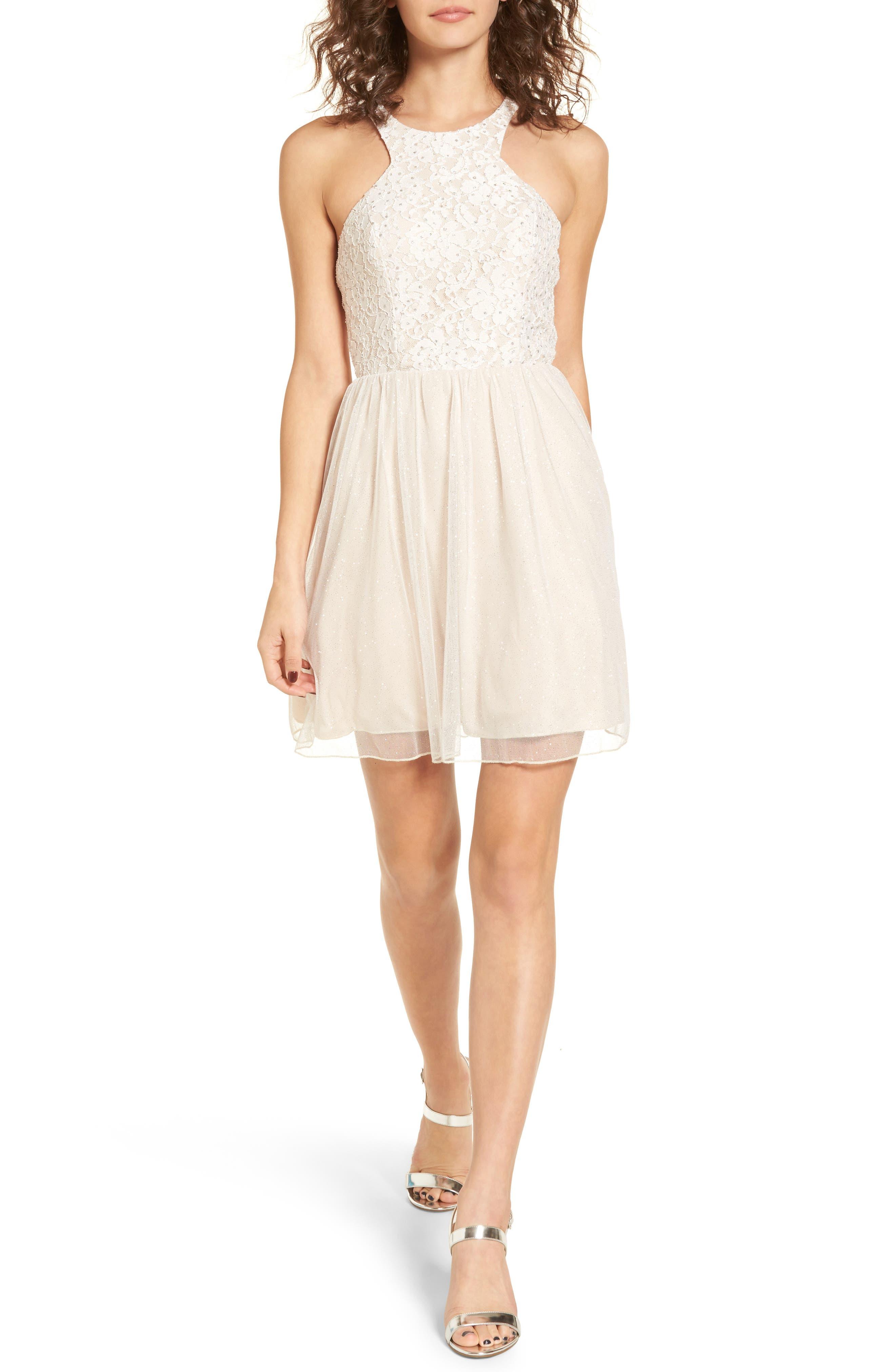 Glitter Tulle Dress,                         Main,                         color, Blush