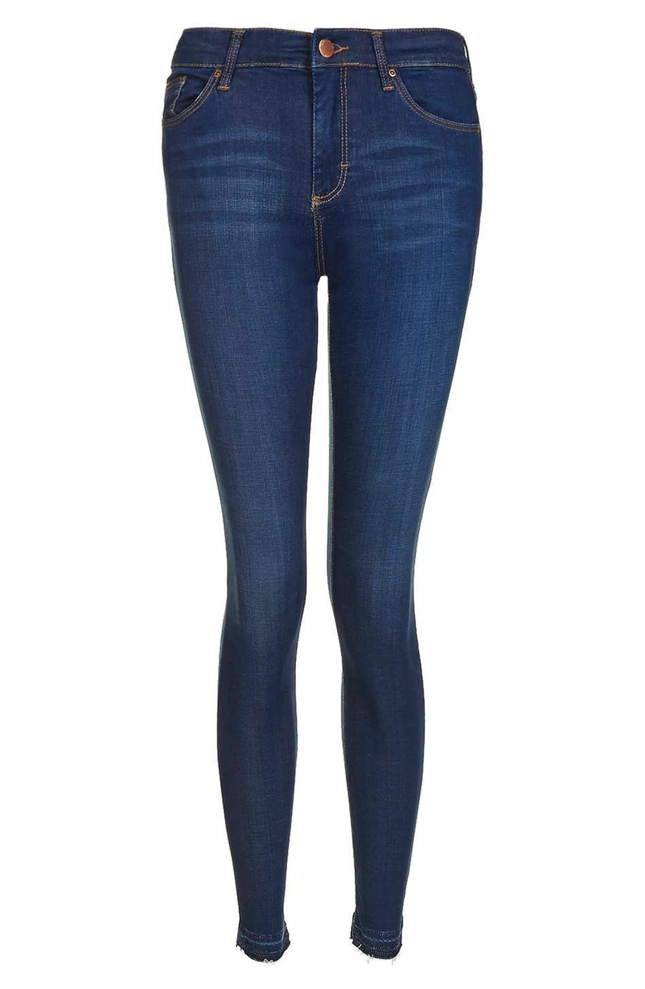 Leigh Released Hem Skinny Jeans,                             Alternate thumbnail 4, color,                             Indigo