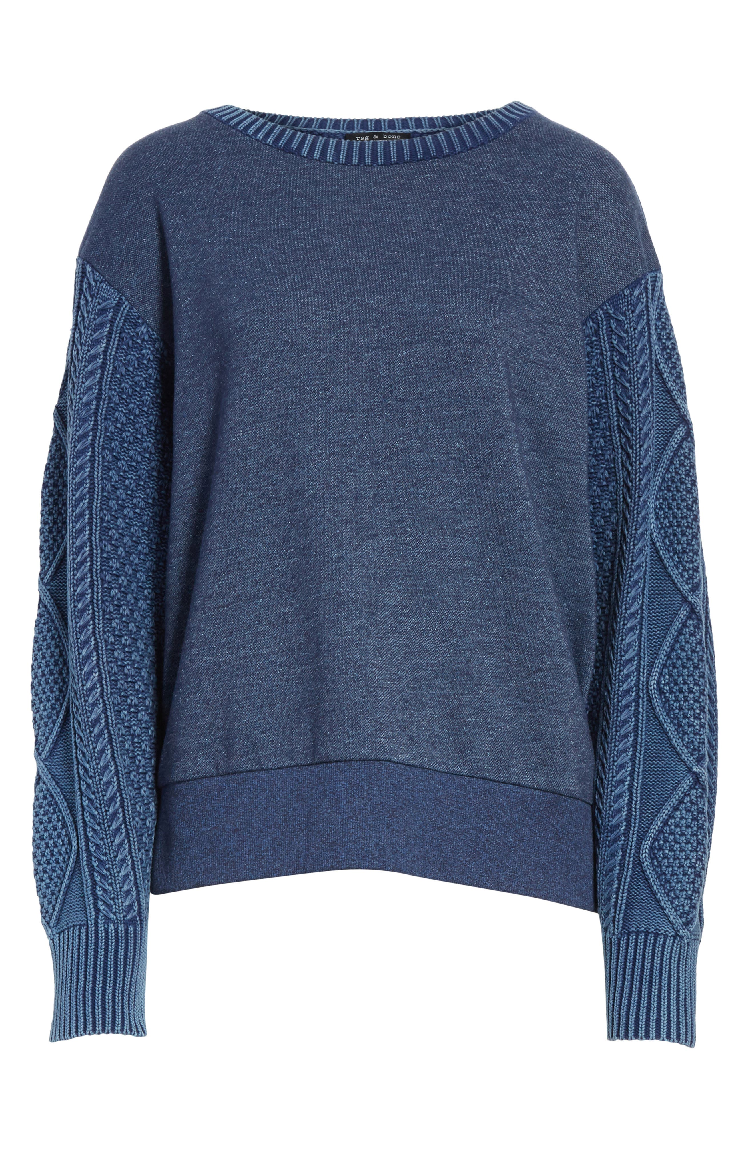 Harper Cable Knit Sweater,                             Alternate thumbnail 6, color,                             Indigo