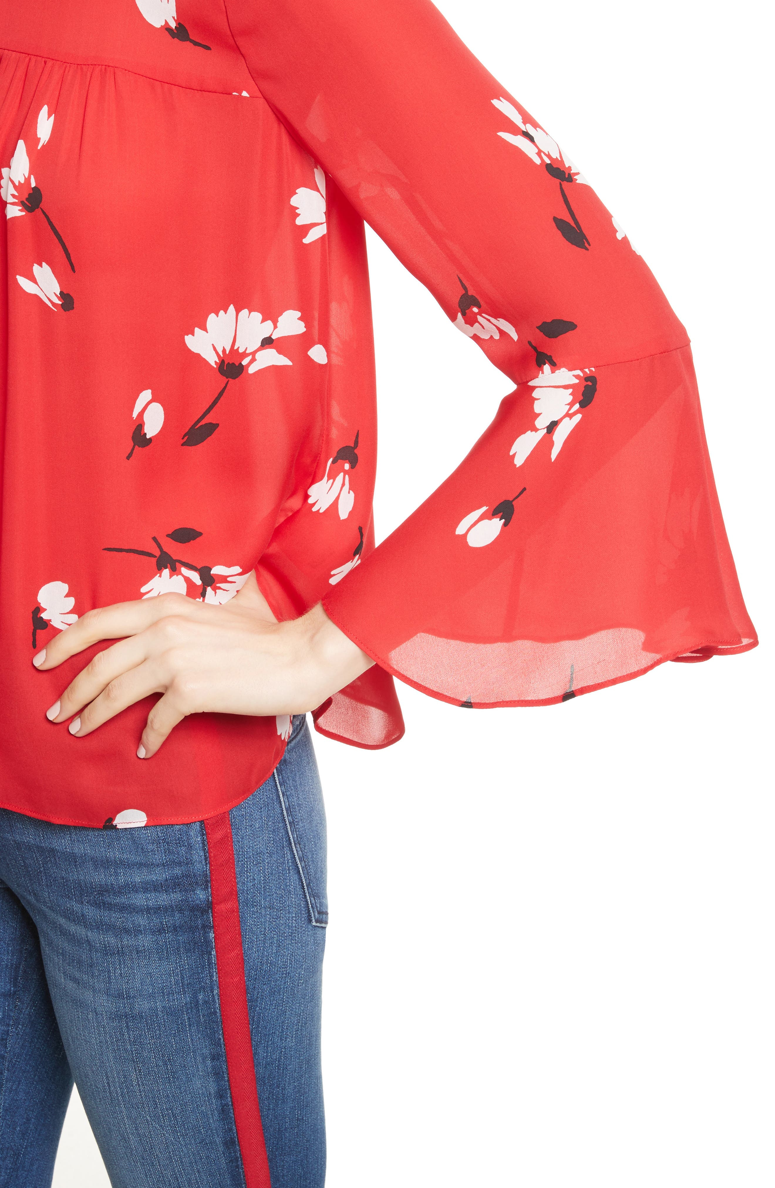 Awilda Bell Sleeve Silk Top,                             Alternate thumbnail 4, color,                             Alarm Red