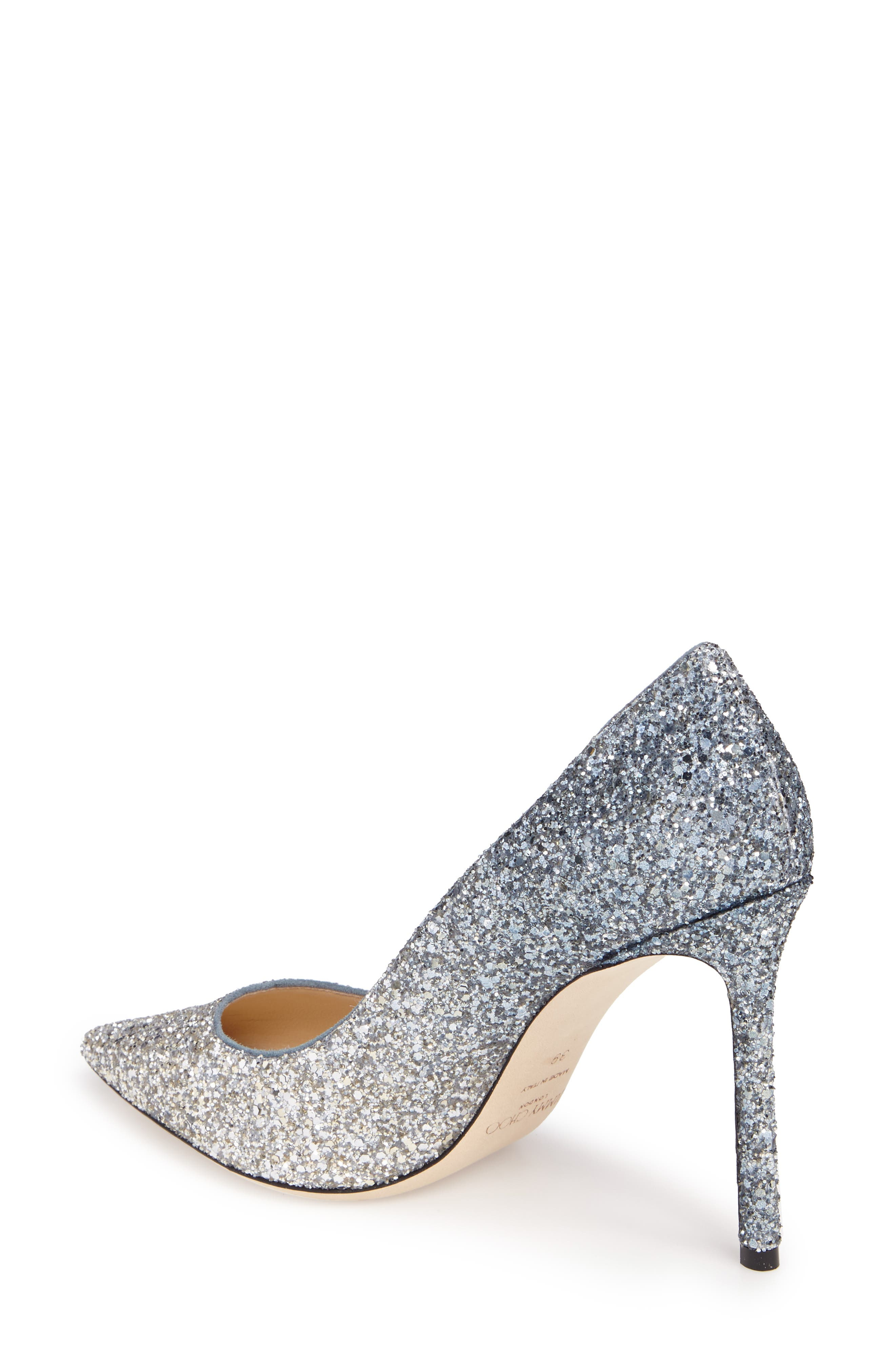 Romy Glitter Pump,                             Alternate thumbnail 4, color,                             Silver/ Dusk Blue