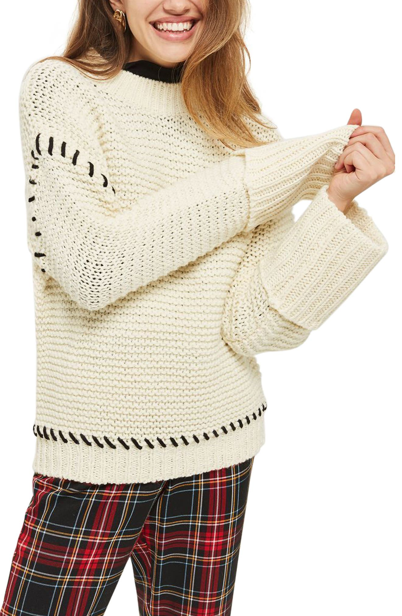 Whipstitch Sweater,                             Main thumbnail 1, color,                             Cream Multi