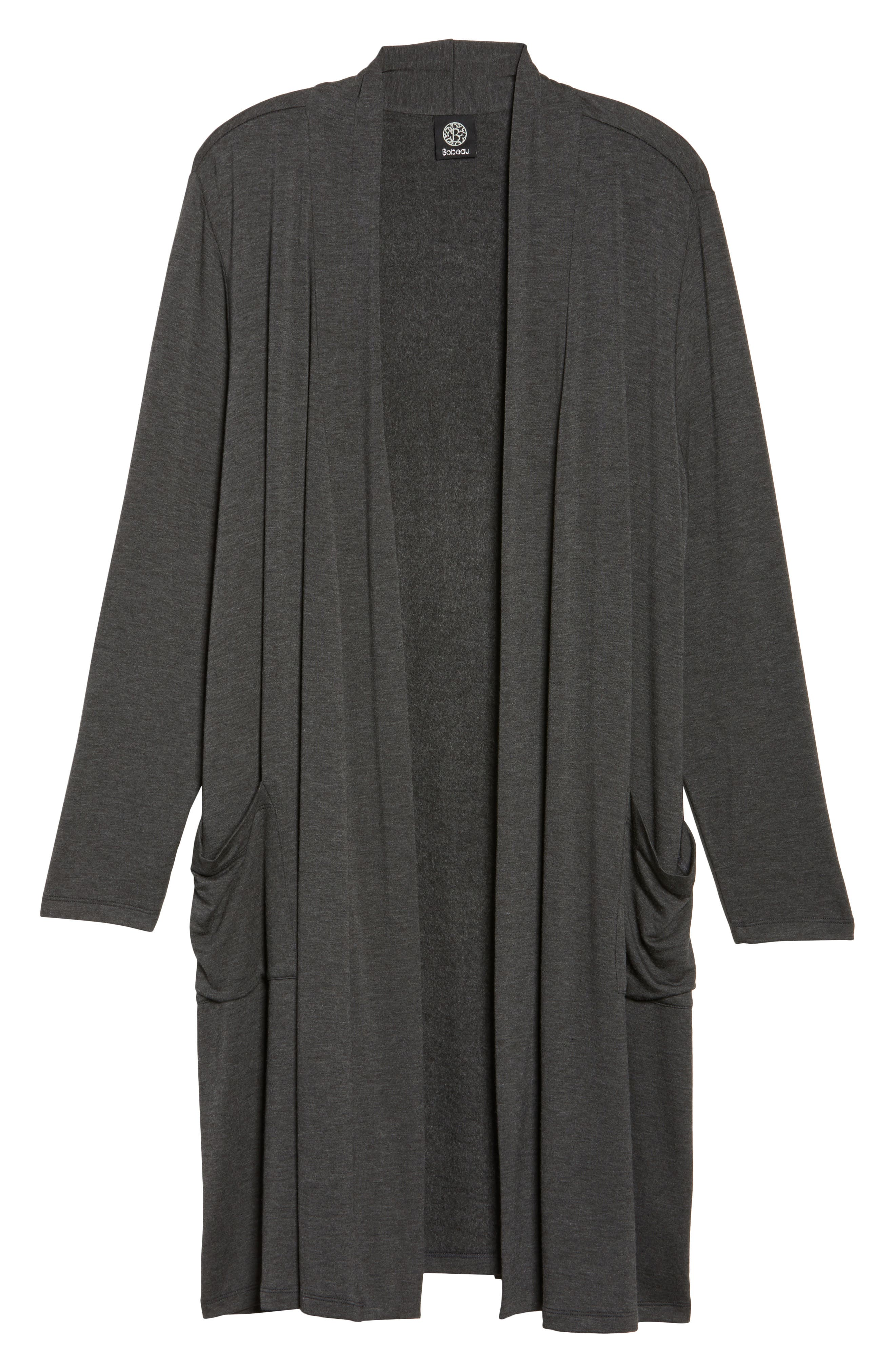 Two-Pocket Stretch Cardigan,                             Alternate thumbnail 6, color,                             Heather Charcoal