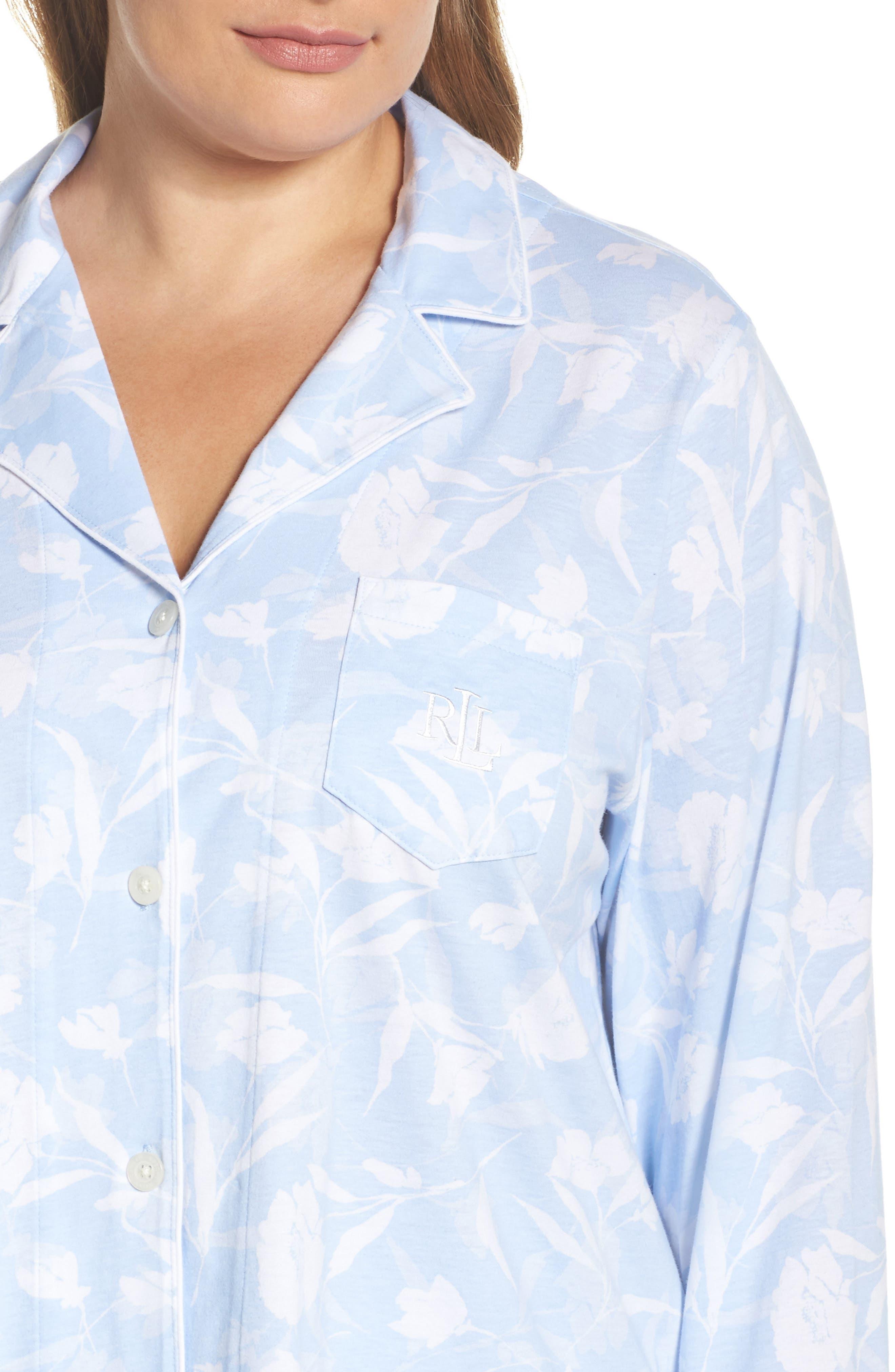 Floral Print Jersey Pajamas,                             Alternate thumbnail 4, color,                             Blue Monotone Floral