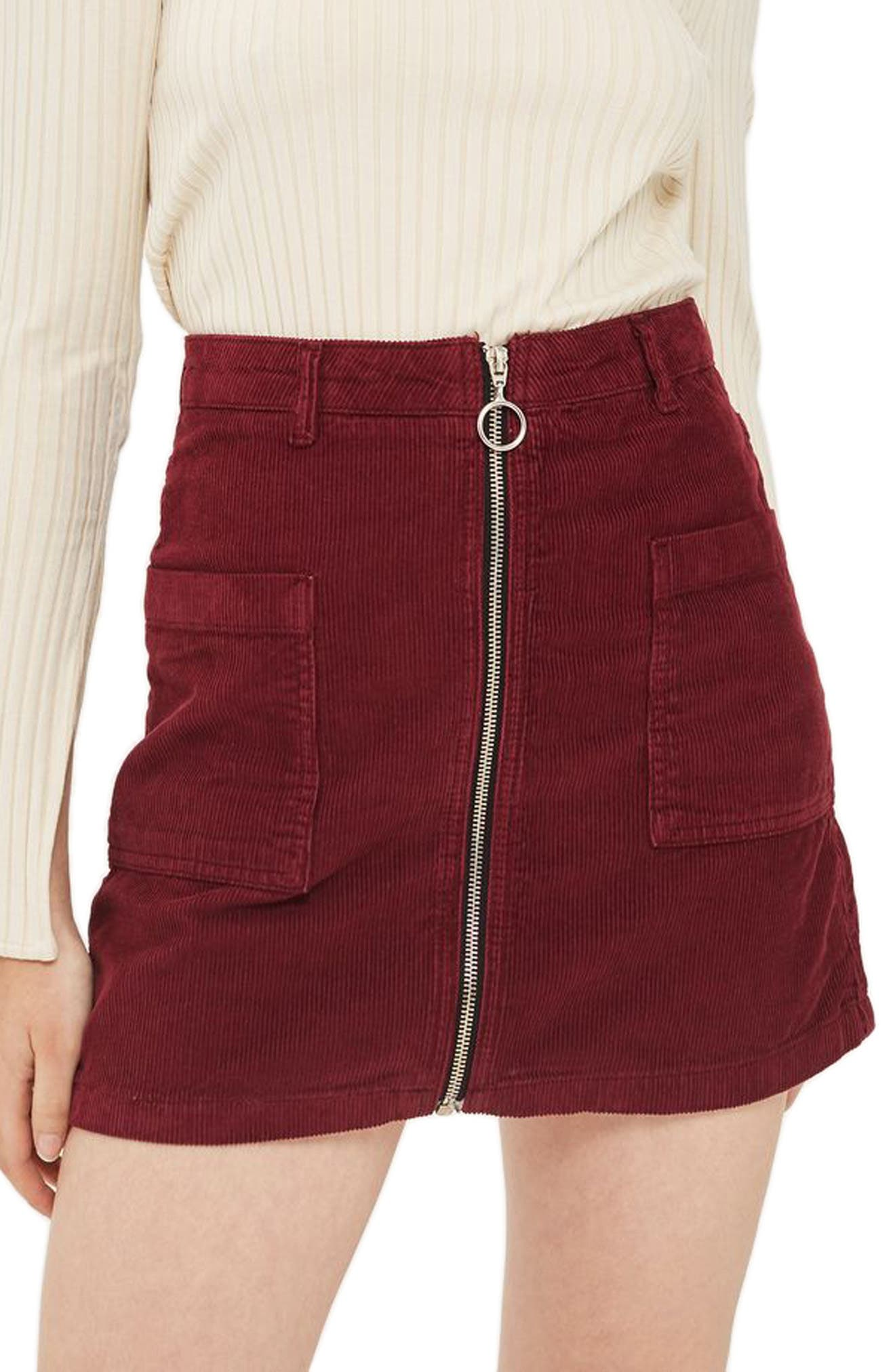 Zip Through Corduroy Skirt,                             Main thumbnail 1, color,                             Burgundy