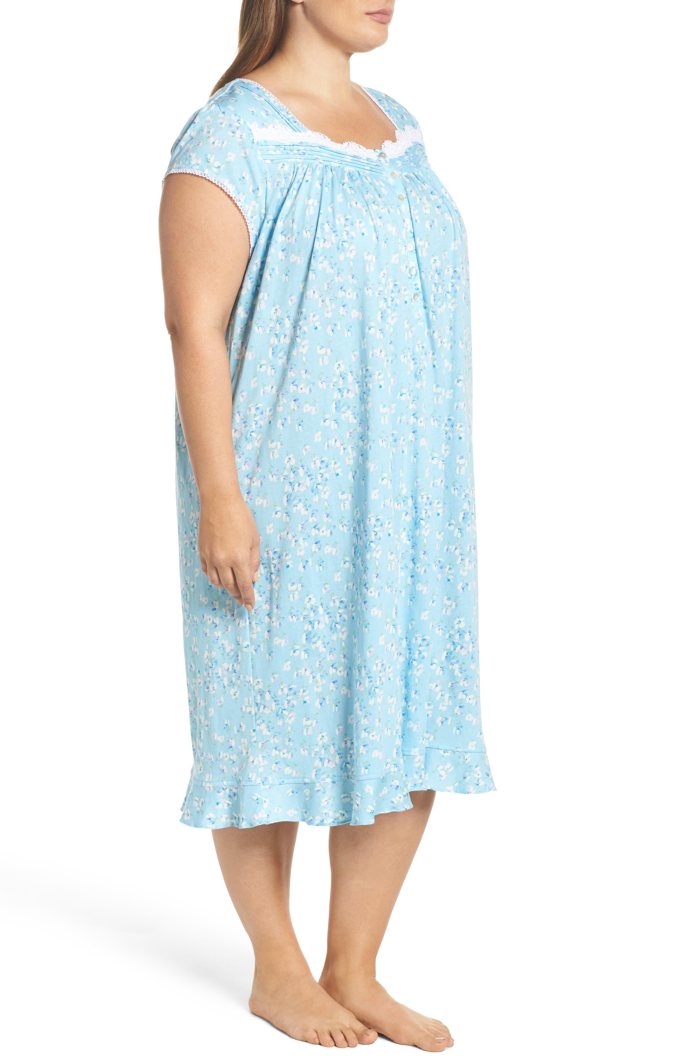 Waltz Nightgown,                             Alternate thumbnail 3, color,                             Light Sea Glass/ Multi Floral