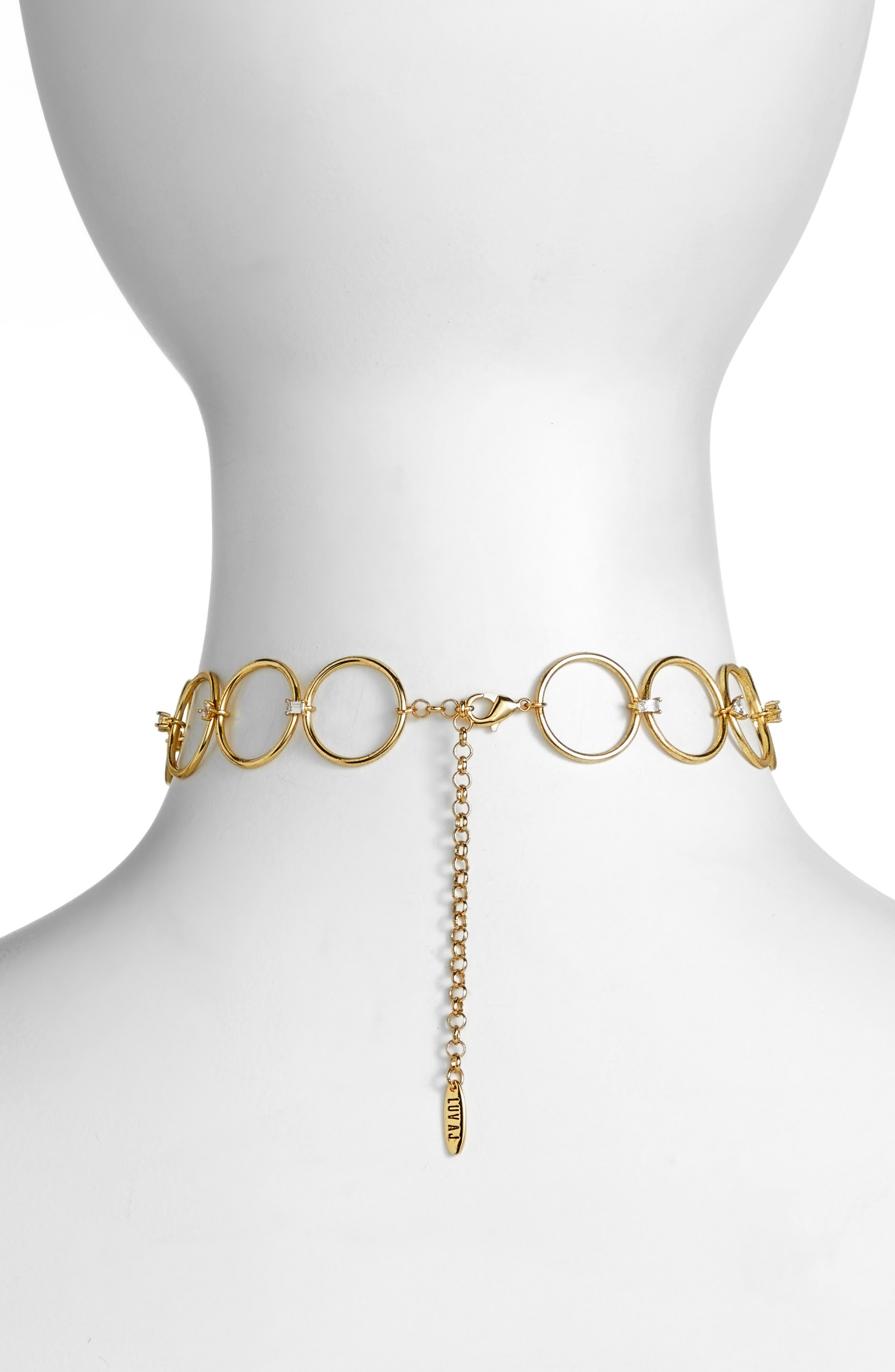 Scattered Jewel Loop Choker,                             Alternate thumbnail 2, color,                             Gold