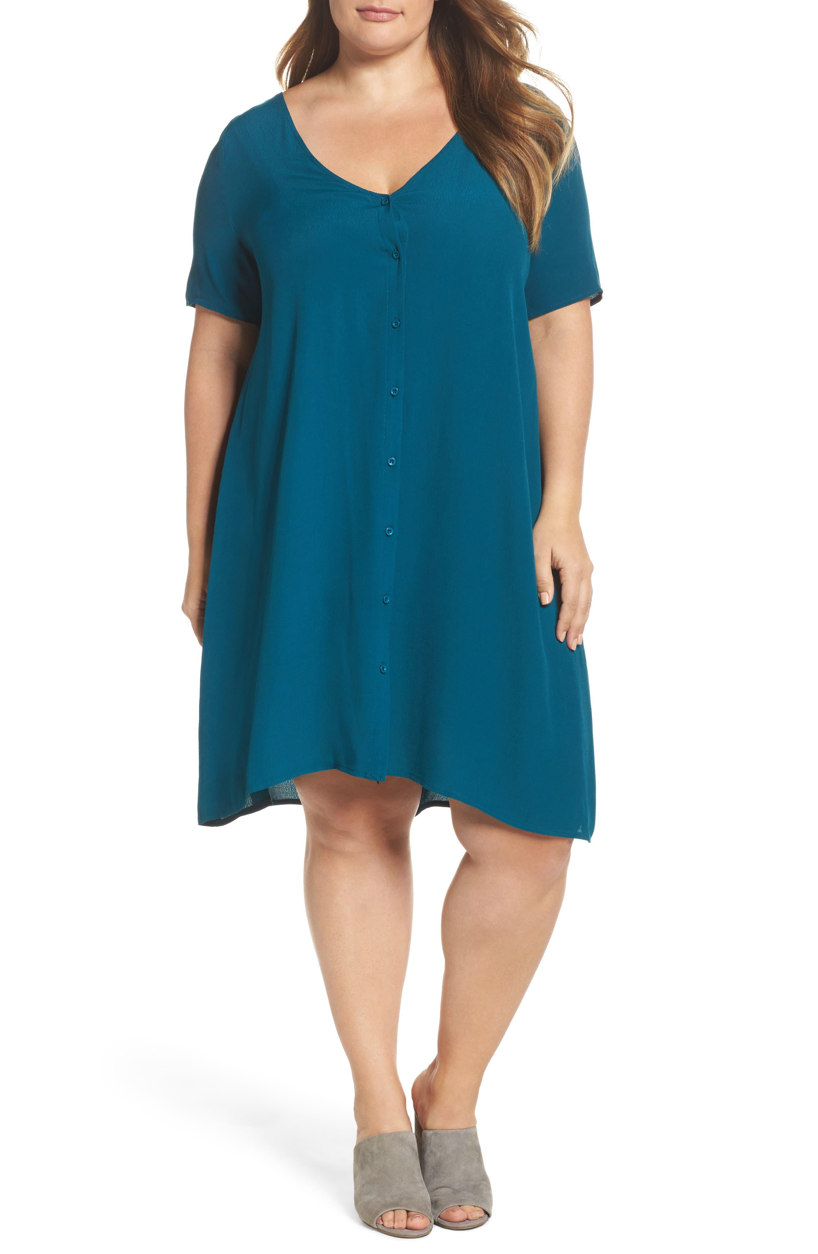 Button Front Trapeze Dress,                         Main,                         color, Teal