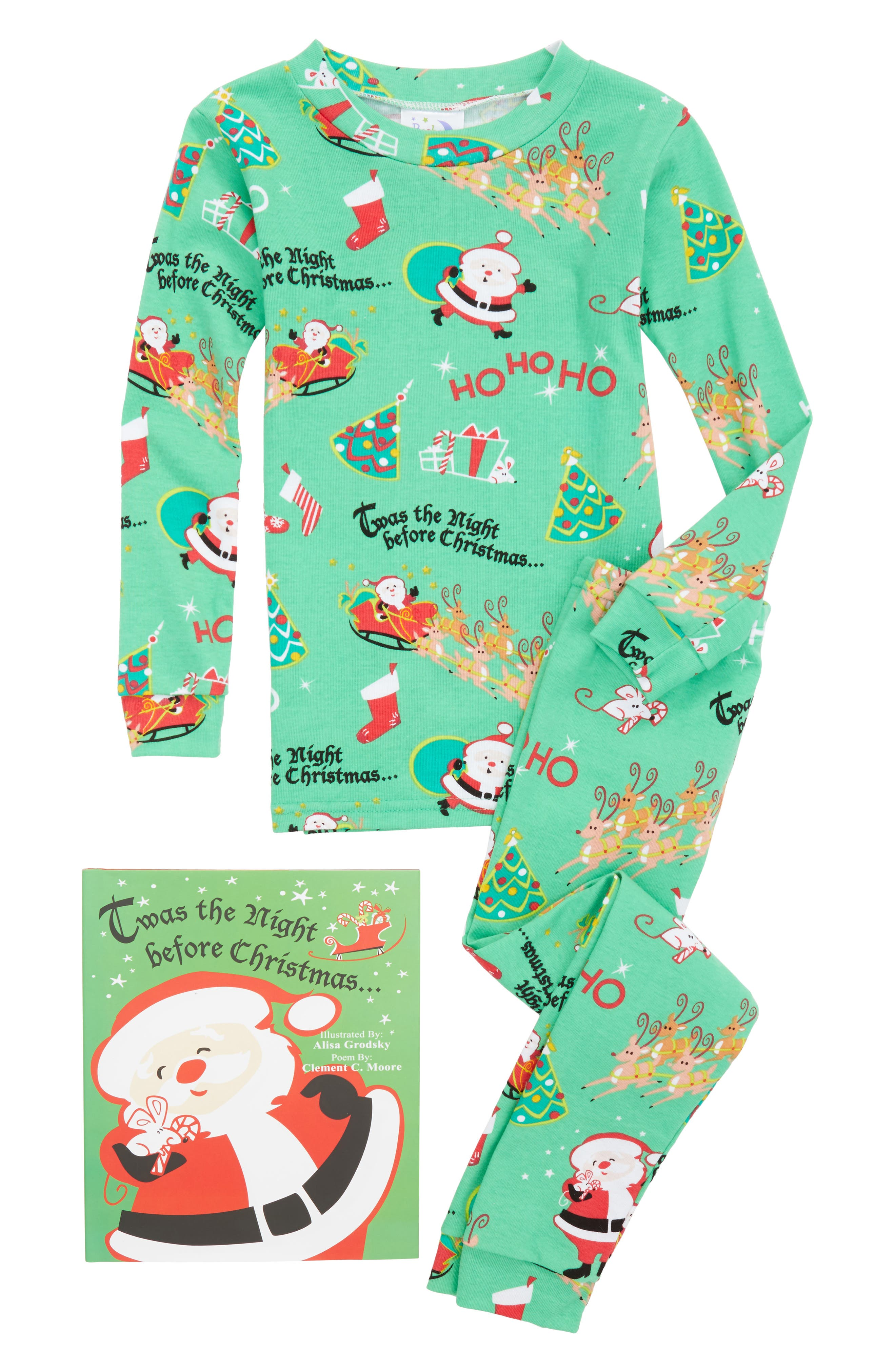 Twas the Night Before Christmas Fitted Two-Piece Pajamas & Book Set,                         Main,                         color, Green