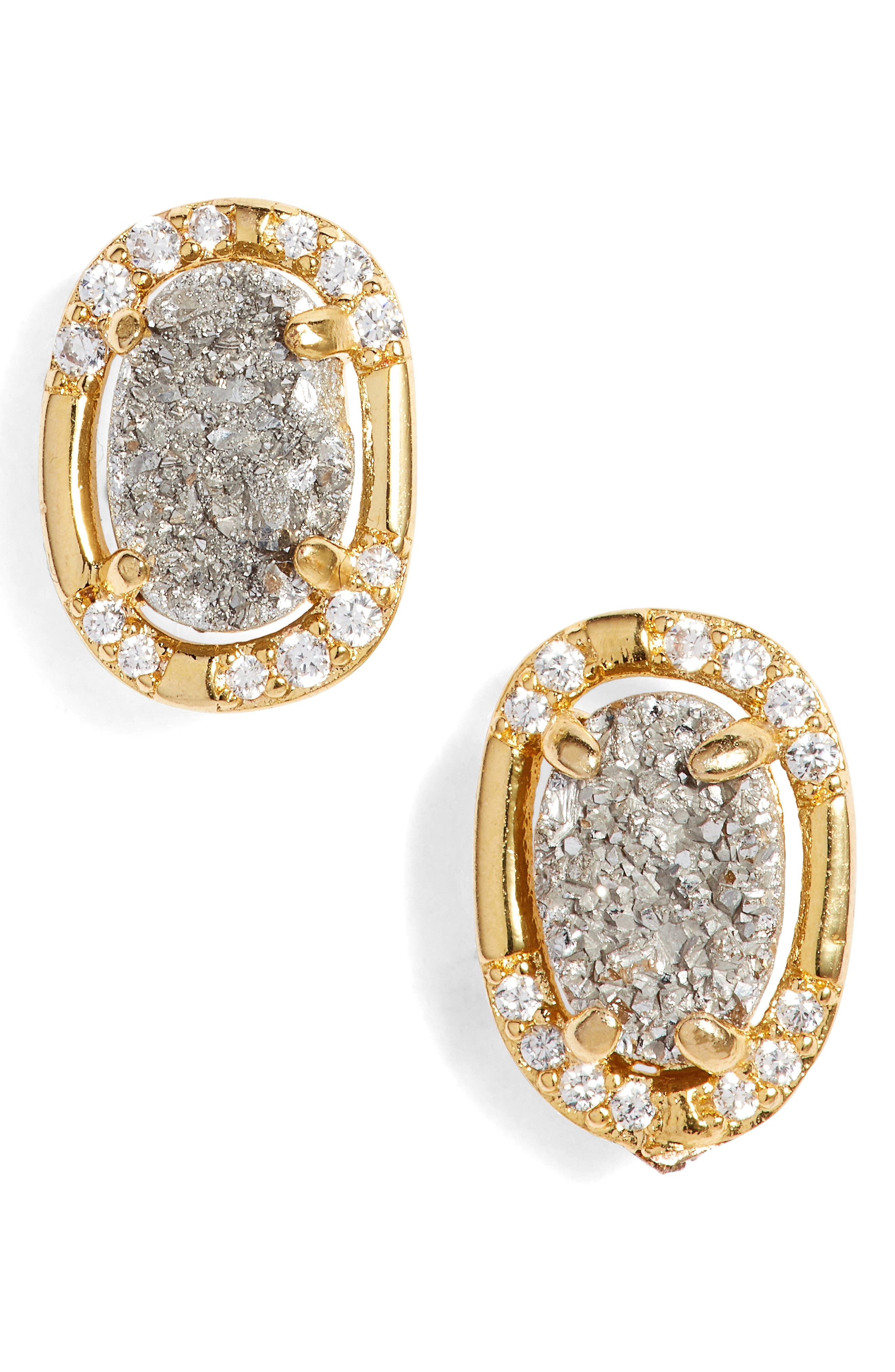 Zoey Stud Earrings,                             Main thumbnail 1, color,                             Grey Druzy/ Gold