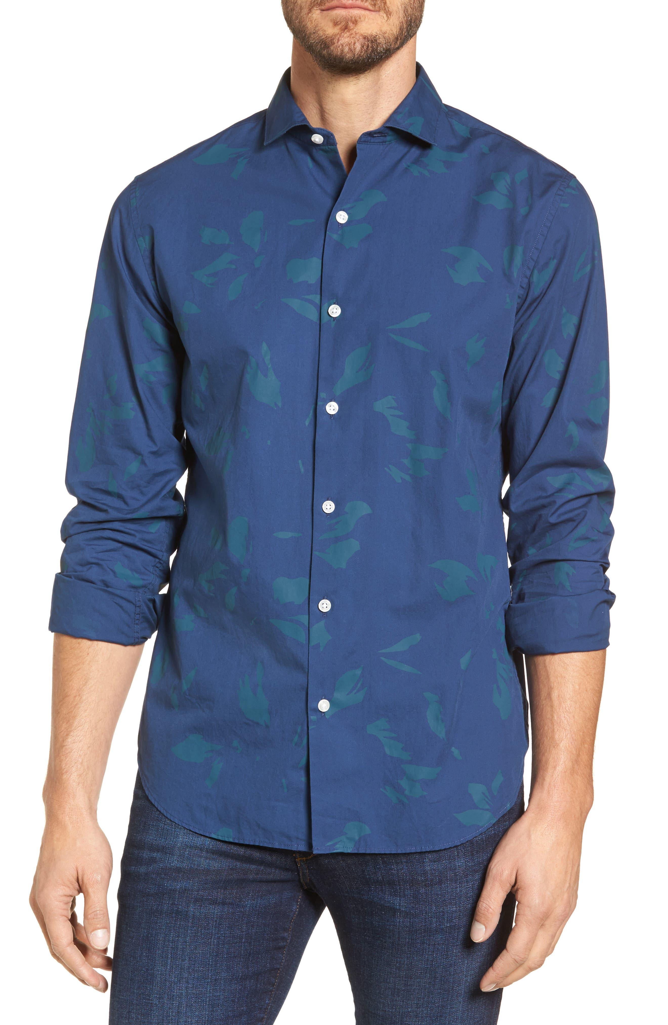 Unbutton Down Slim Fit Abstract Print Sport Shirt,                         Main,                         color, Shadow Floral/ Midnight