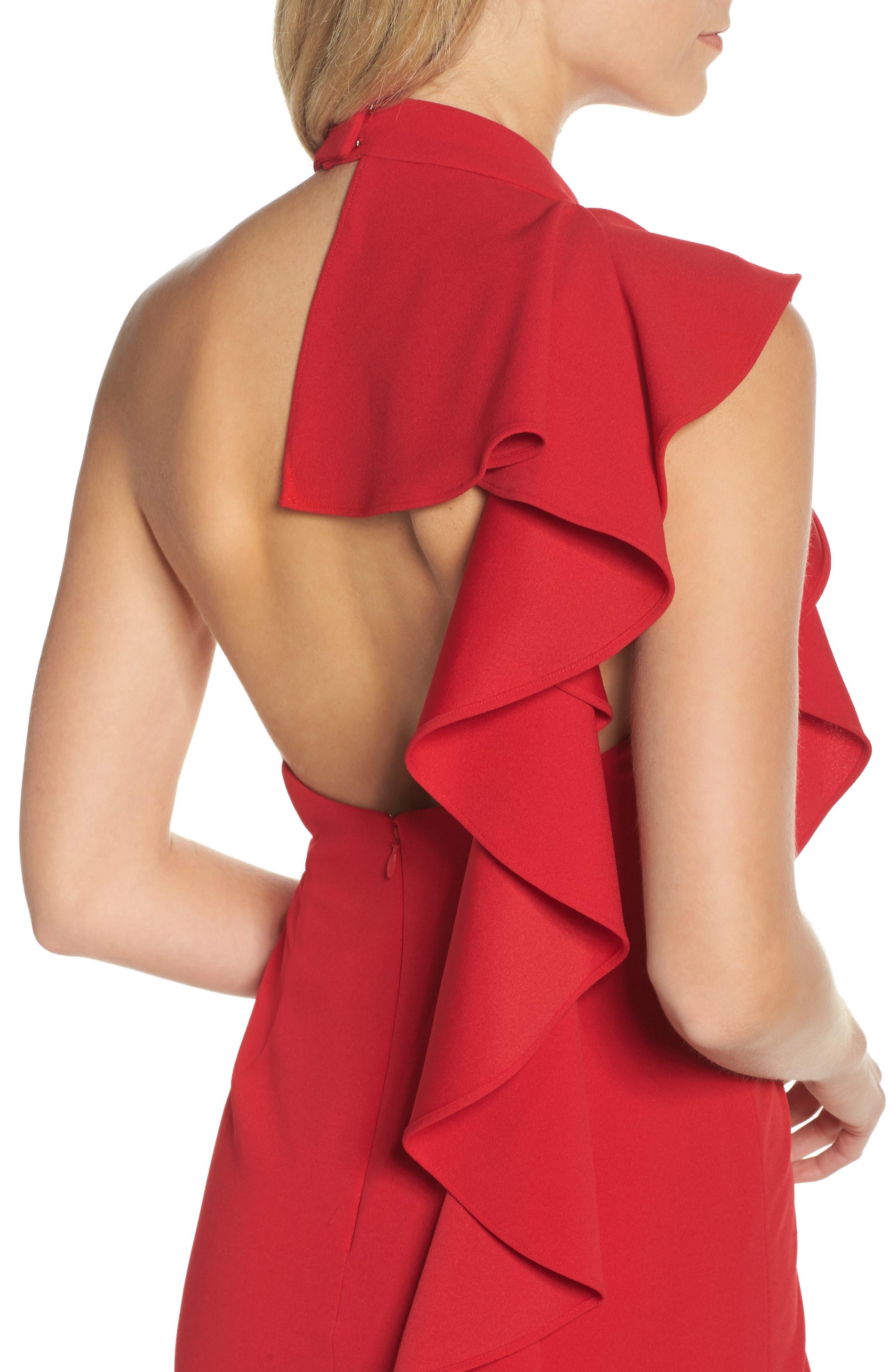 Ruffle Crepe Halter Dress,                             Alternate thumbnail 4, color,                             Red