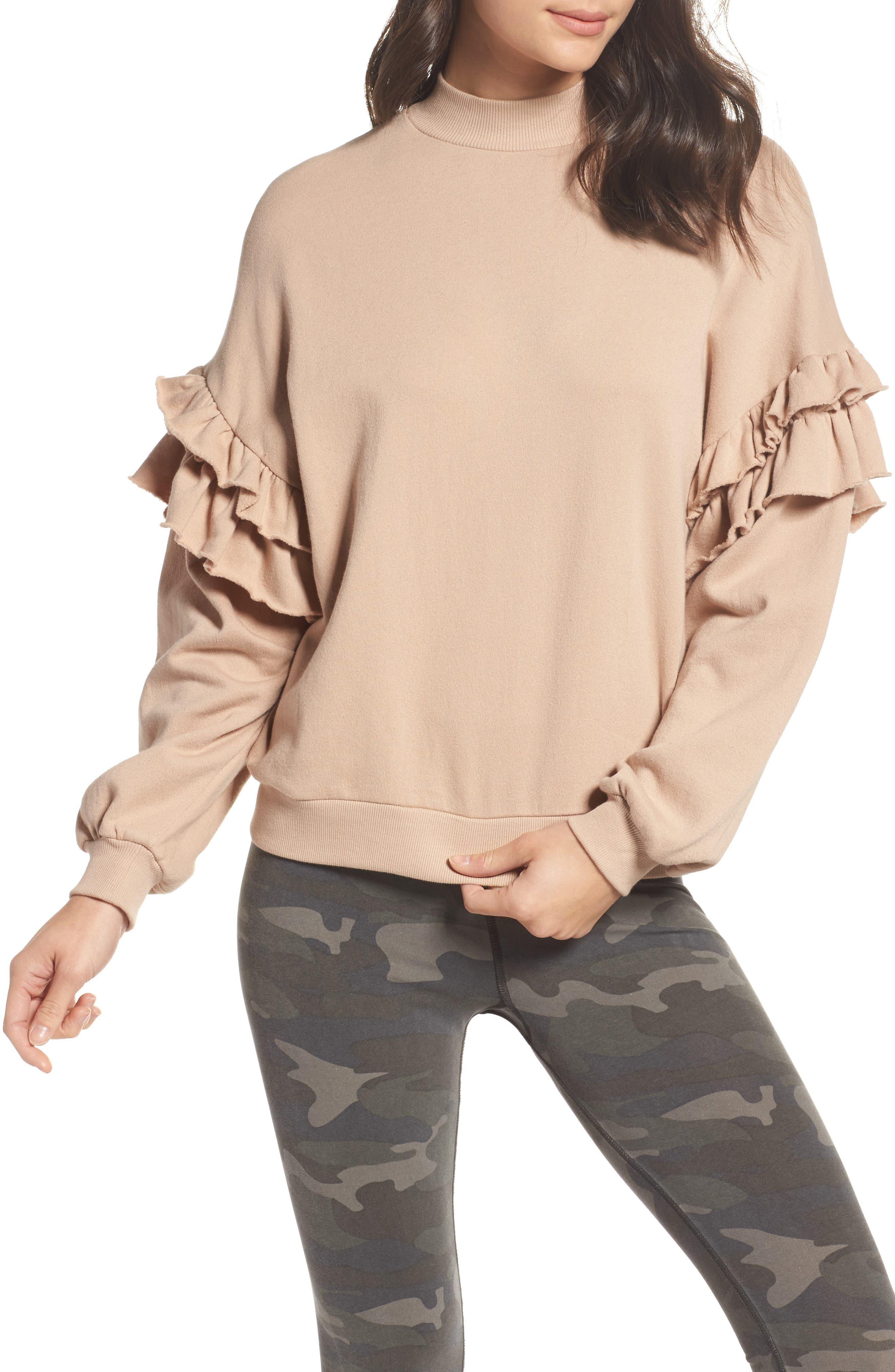Ruffle Sweatshirt,                         Main,                         color, Rose