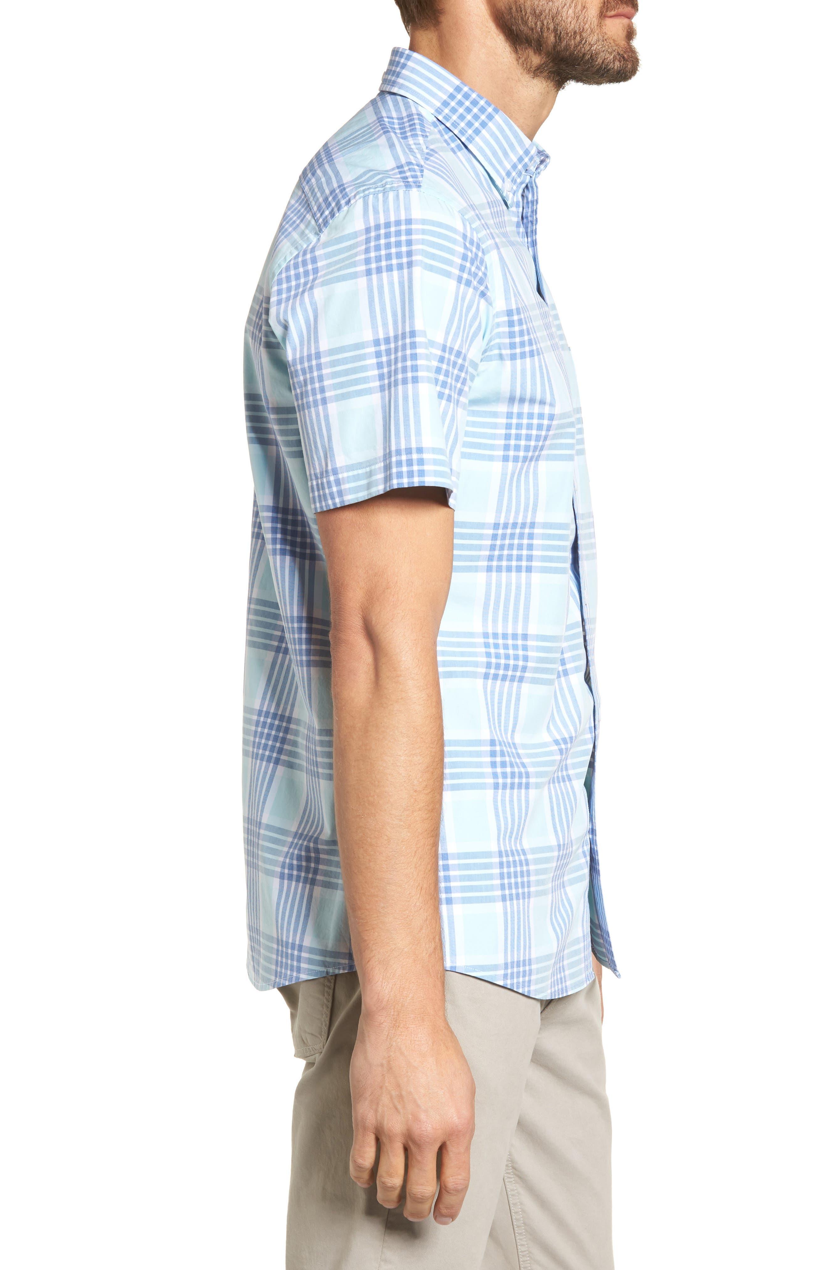 Trim Fit Washed Plaid Sport Shirt,                             Alternate thumbnail 4, color,                             Blue Aquatic Plaid