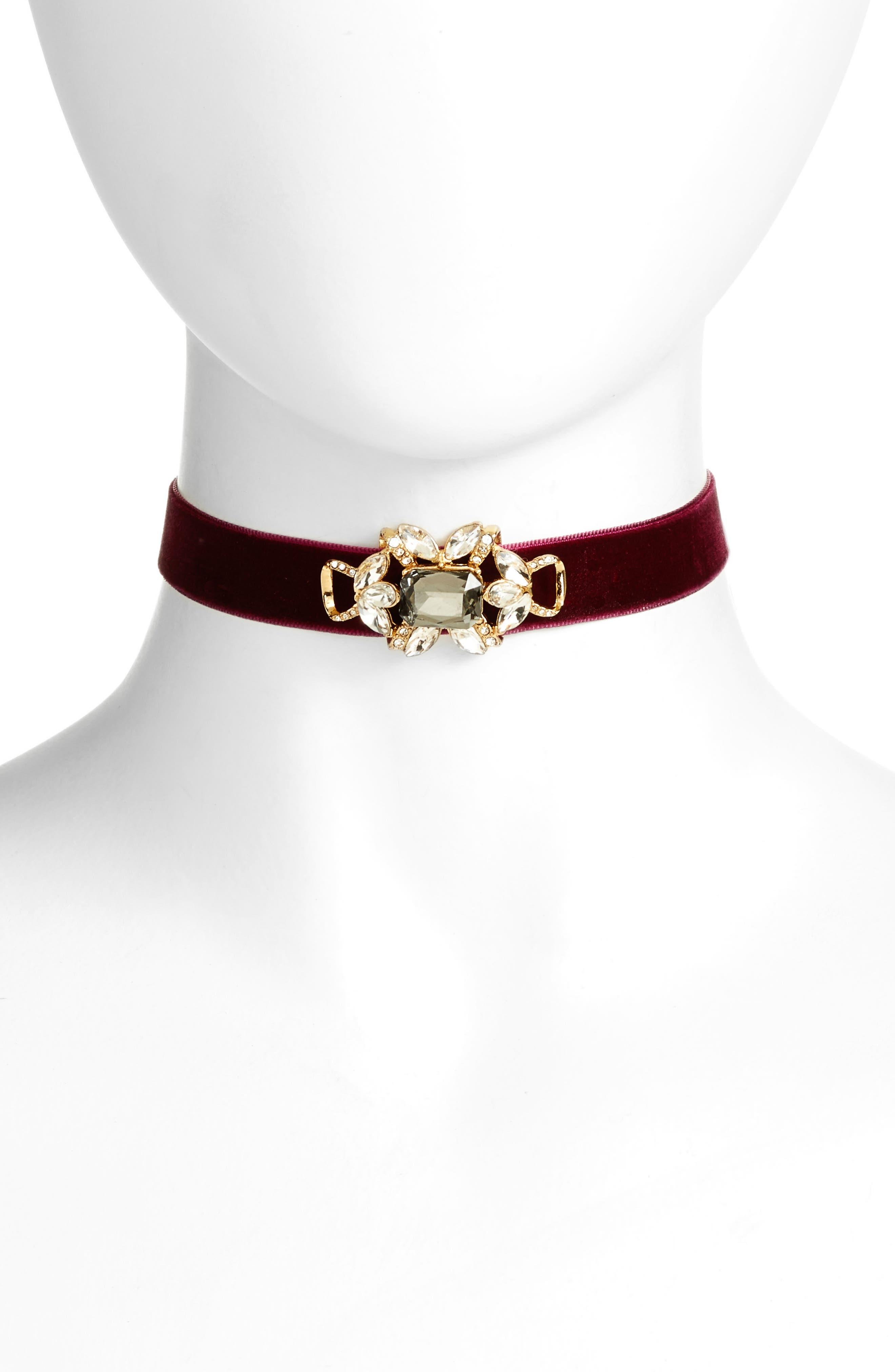 Embellished Velvet Wrap Choker Necklace,                         Main,                         color, Burgundy/ Gold
