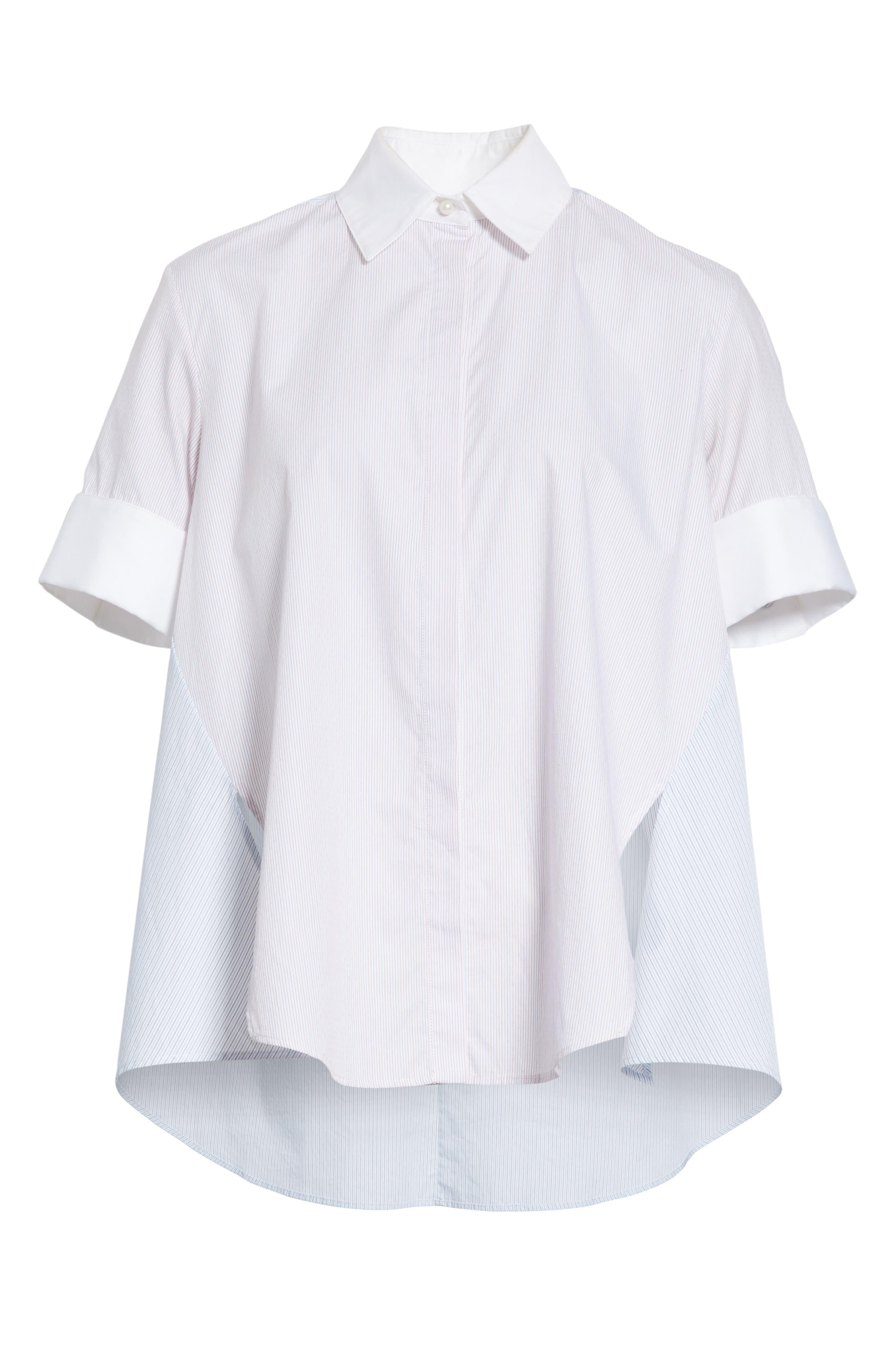 Stripe Cotton Trapeze Shirt,                             Alternate thumbnail 6, color,                             Red/ Blue