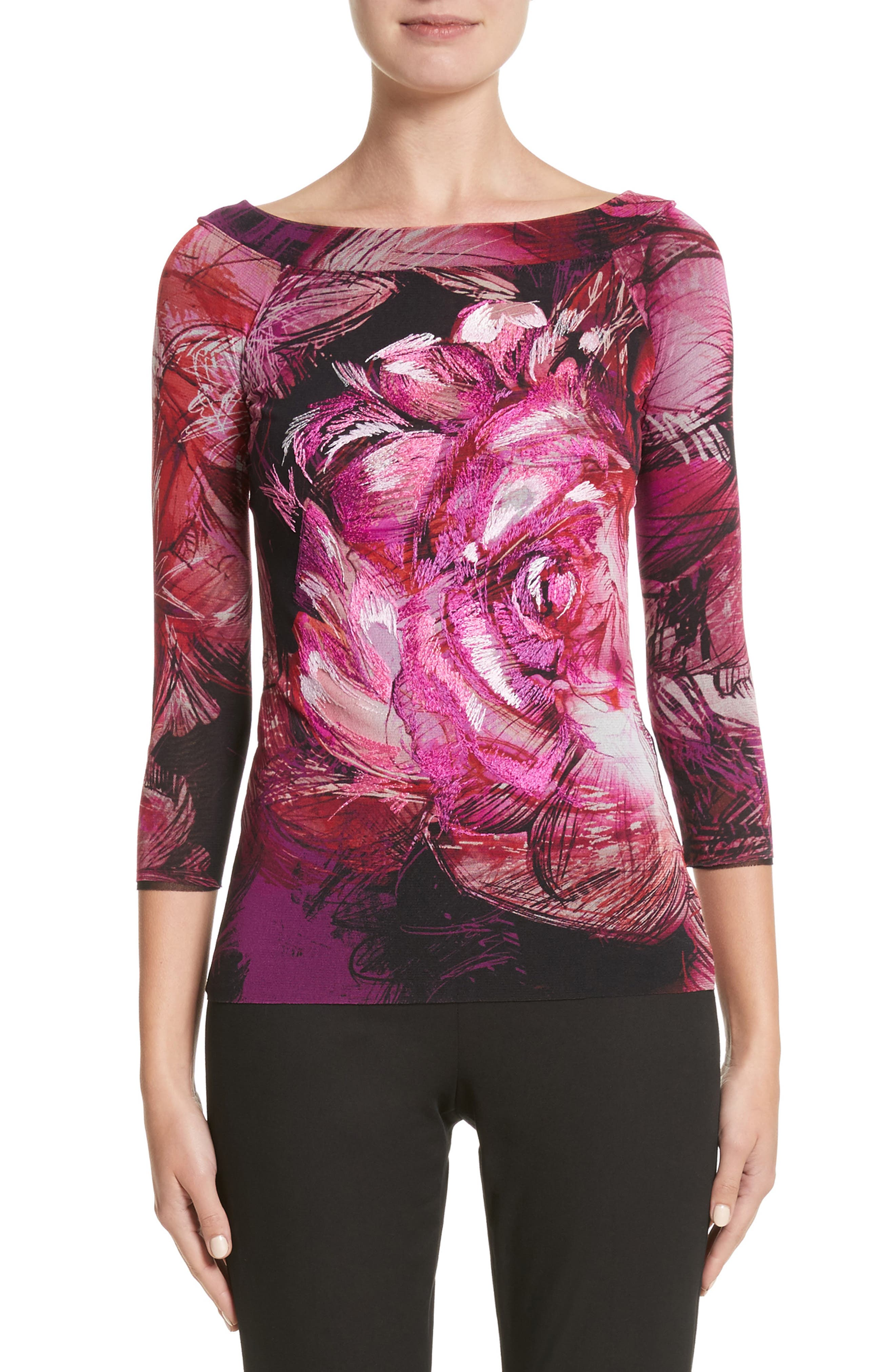Embroidered Rose Print Tulle Top,                         Main,                         color, Pink/Purple
