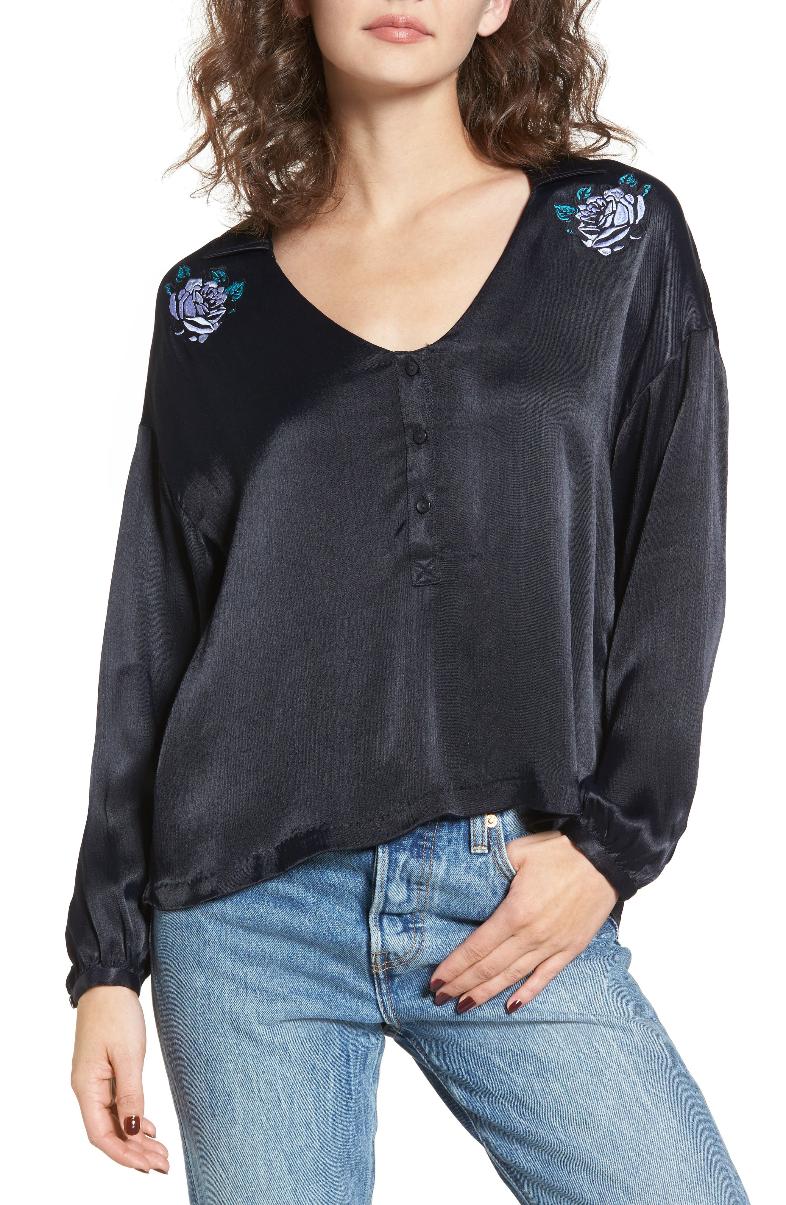 Main Image - Obey Naomi Embroidered Blouse