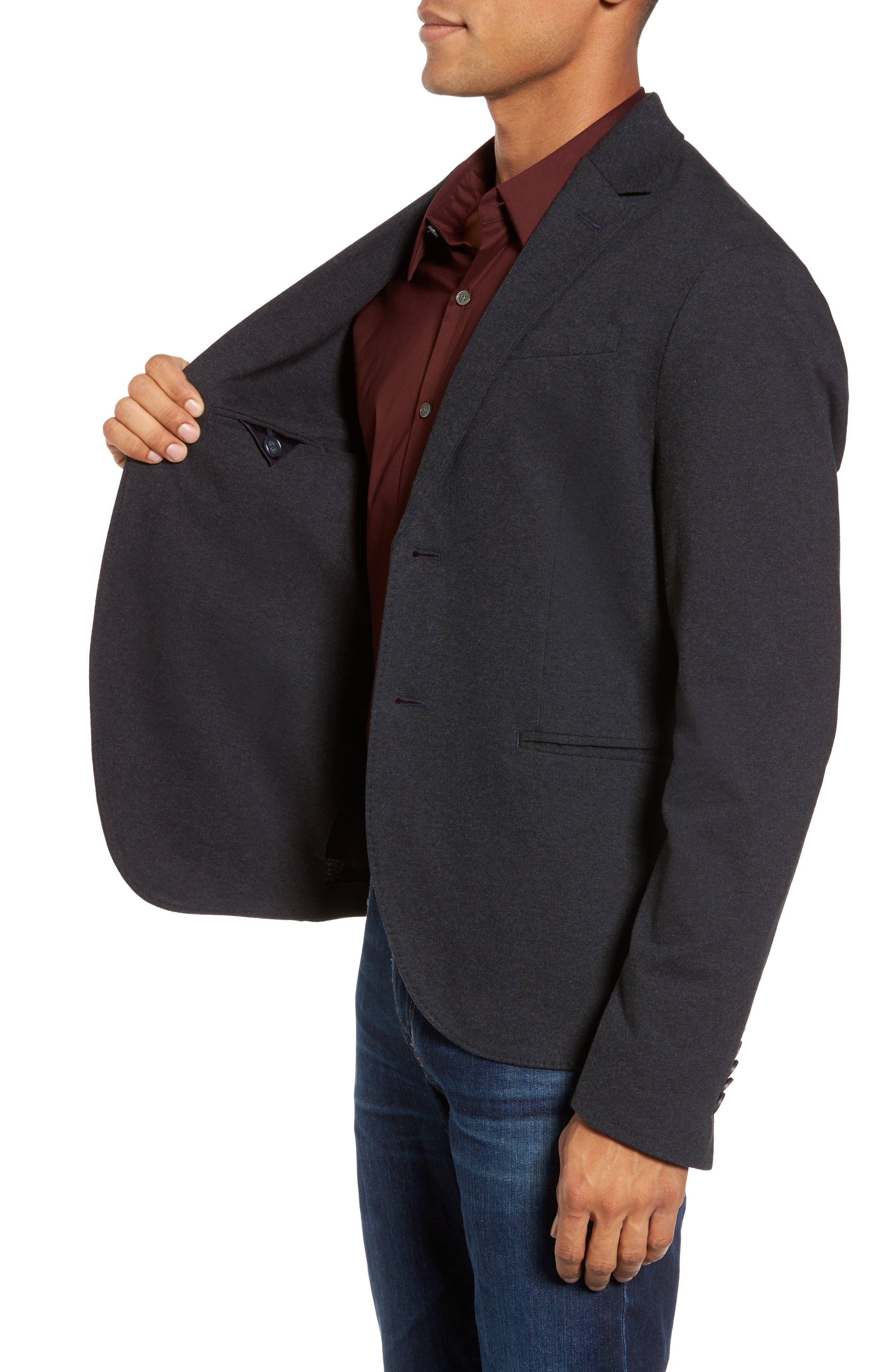 Tailored Jersey Jacket,                             Alternate thumbnail 3, color,                             Heather Dark Navy