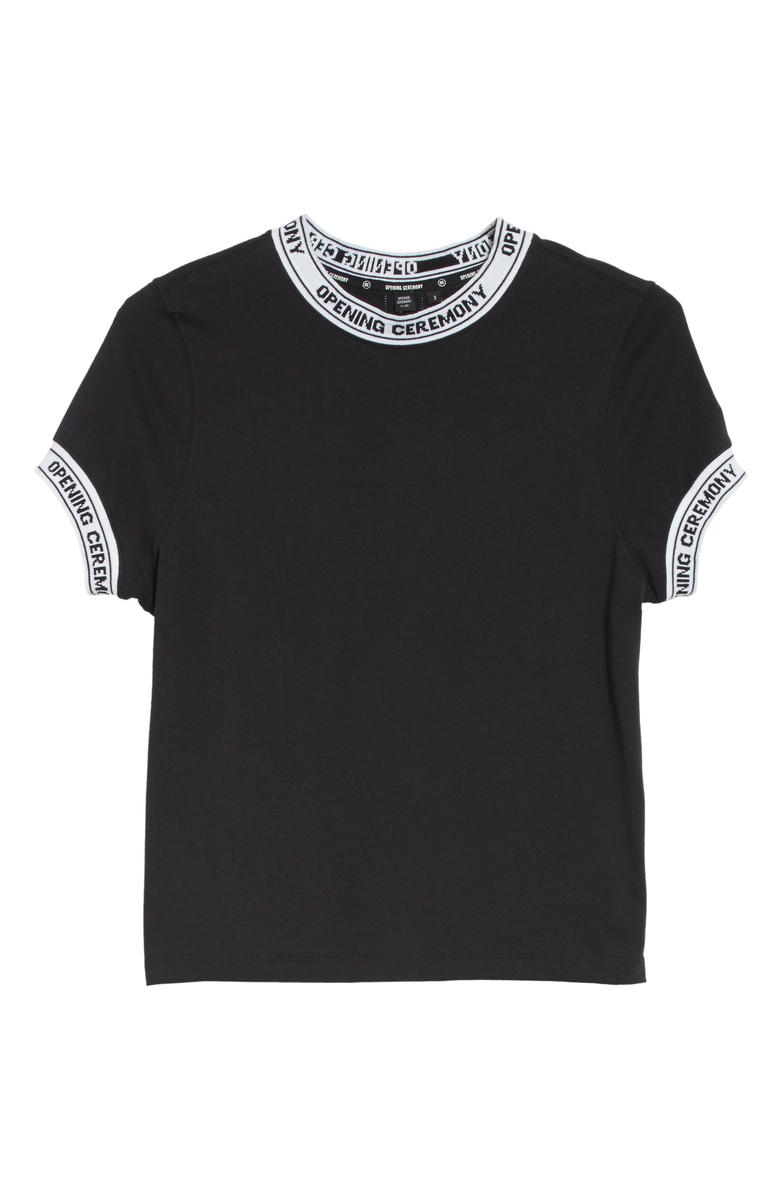 Banded Tee,                             Alternate thumbnail 6, color,                             Black