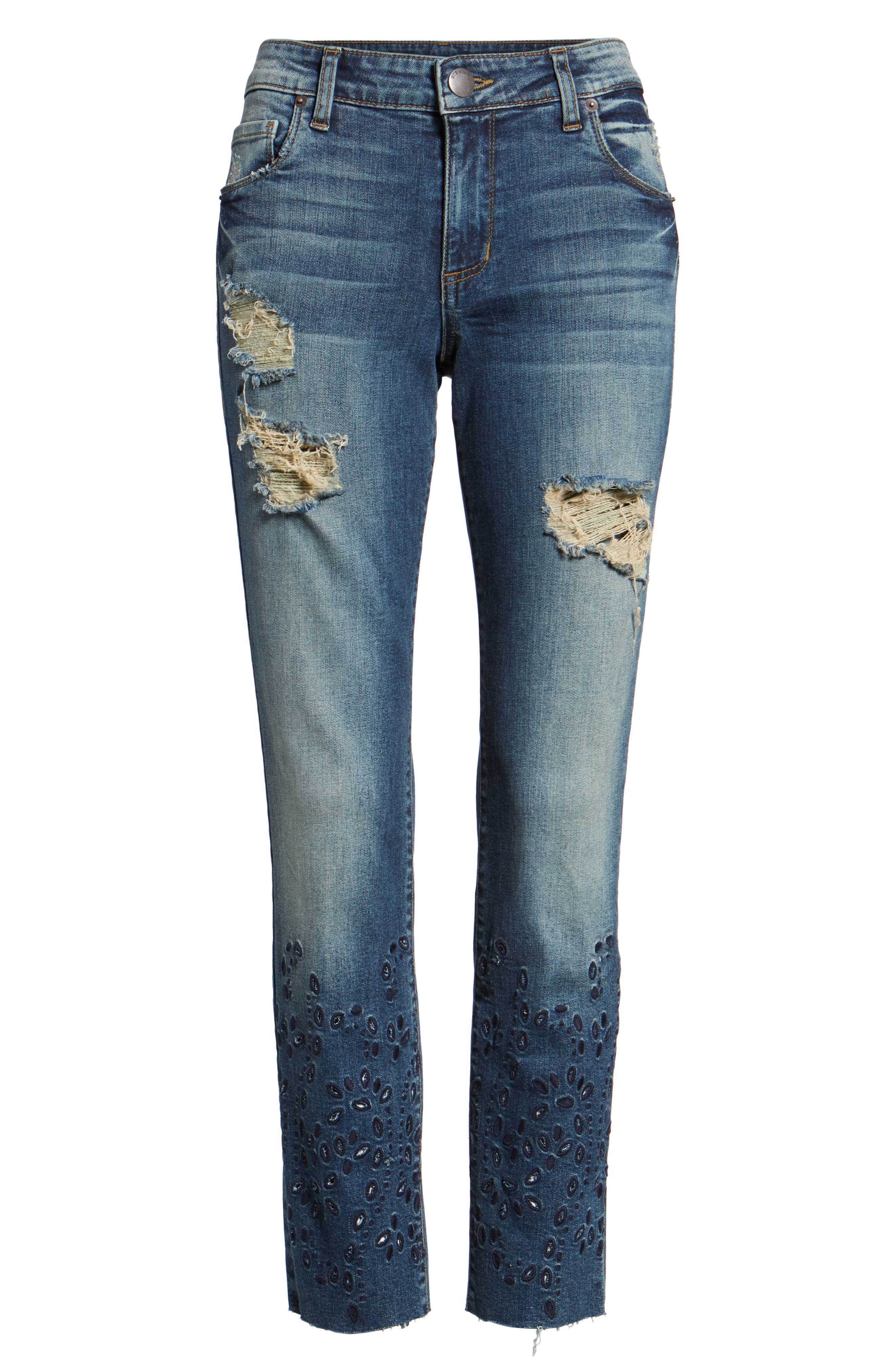 Alternate Image 6  - STS Blue Taylor Ripped Eyelet Straight Leg Jeans