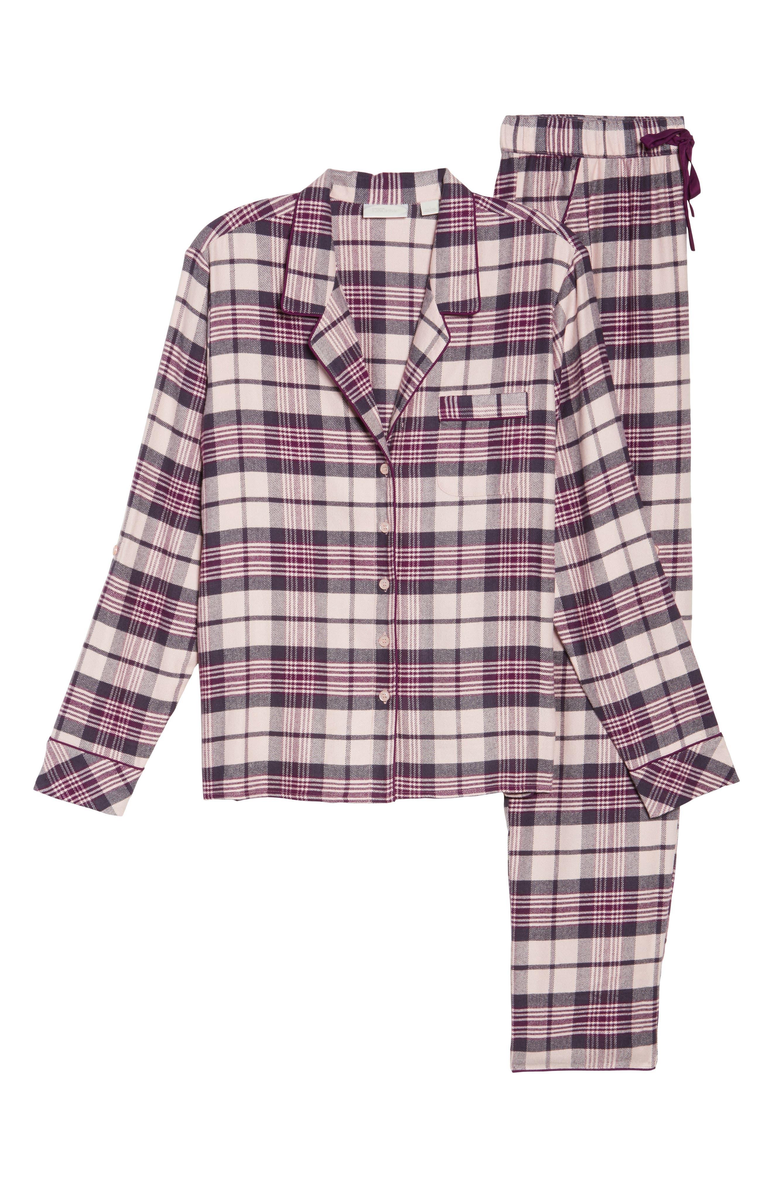 Lingerie Starlight Flannel Pajamas,                             Alternate thumbnail 6, color,                             Pink Peony Bud Tonal Tartan
